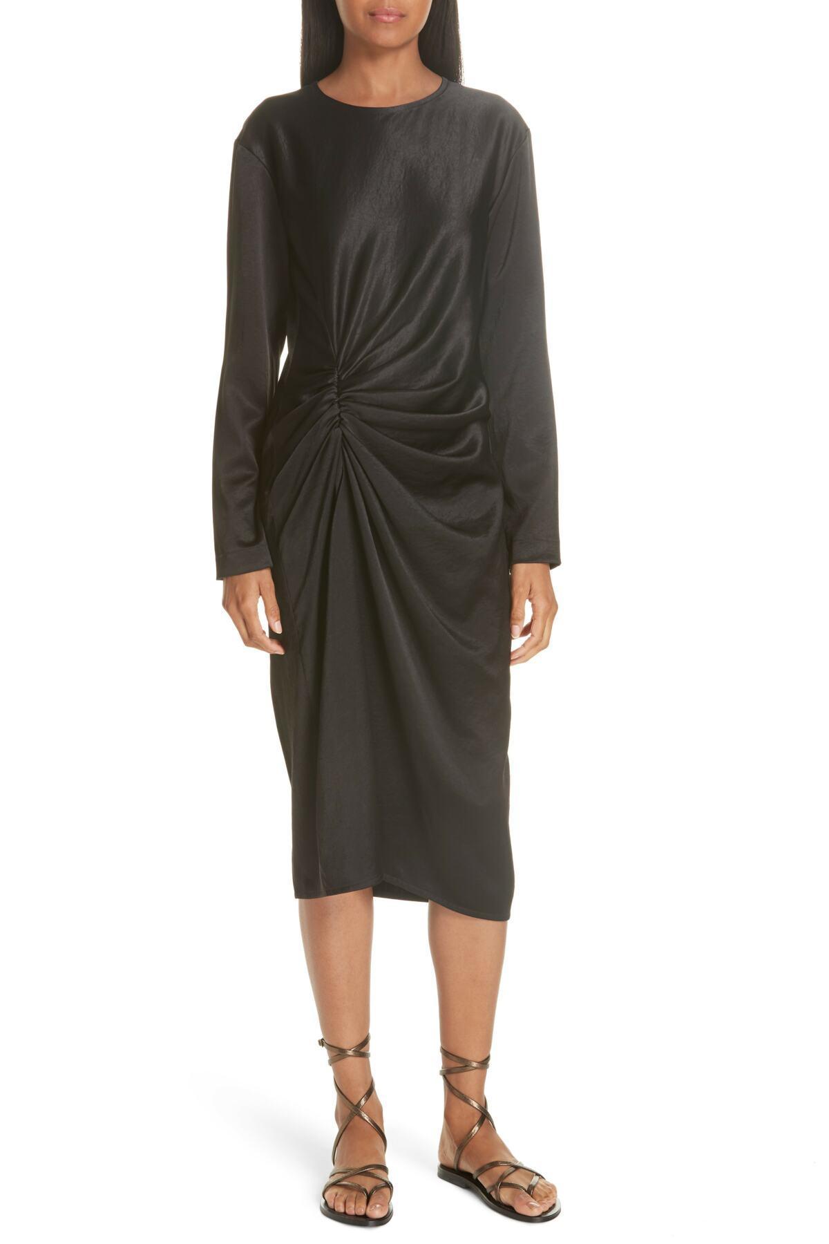 9d7269218d280 Lyst - Helmut Lang Ruched Crinkle Satin Dress in Black - Save ...
