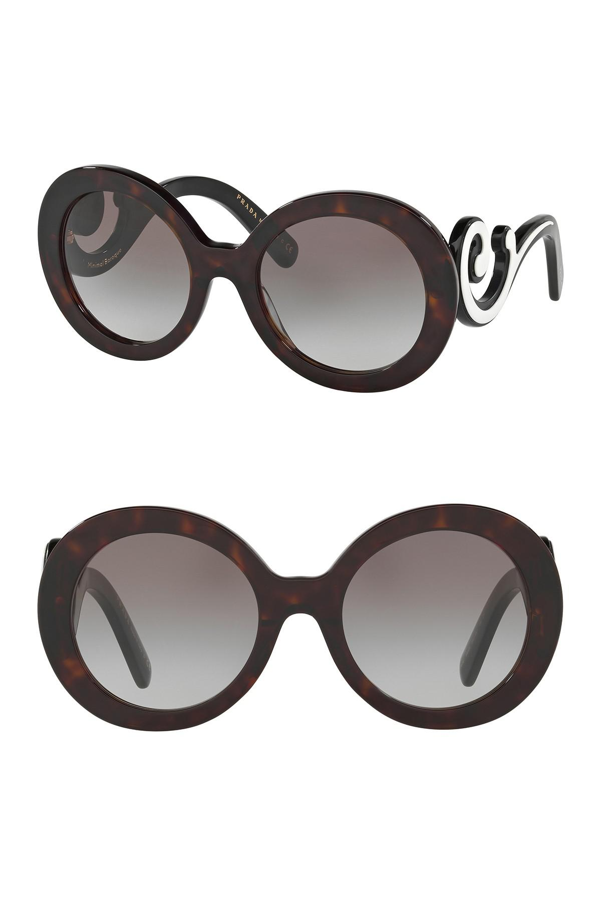 89aafb349b Lyst - Prada Women s 55mm Round Catwalk Minimal Baroque Sunglasses