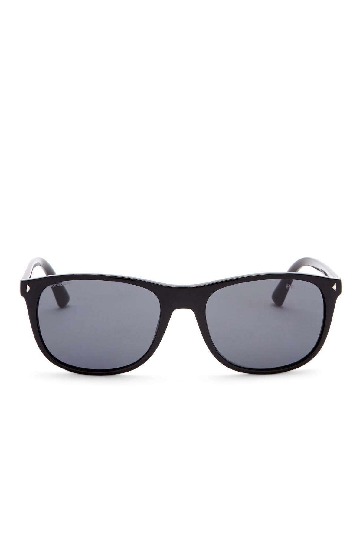 d904b705bb Lyst - Prada 57mm Rectangle Sunglasses in Black for Men