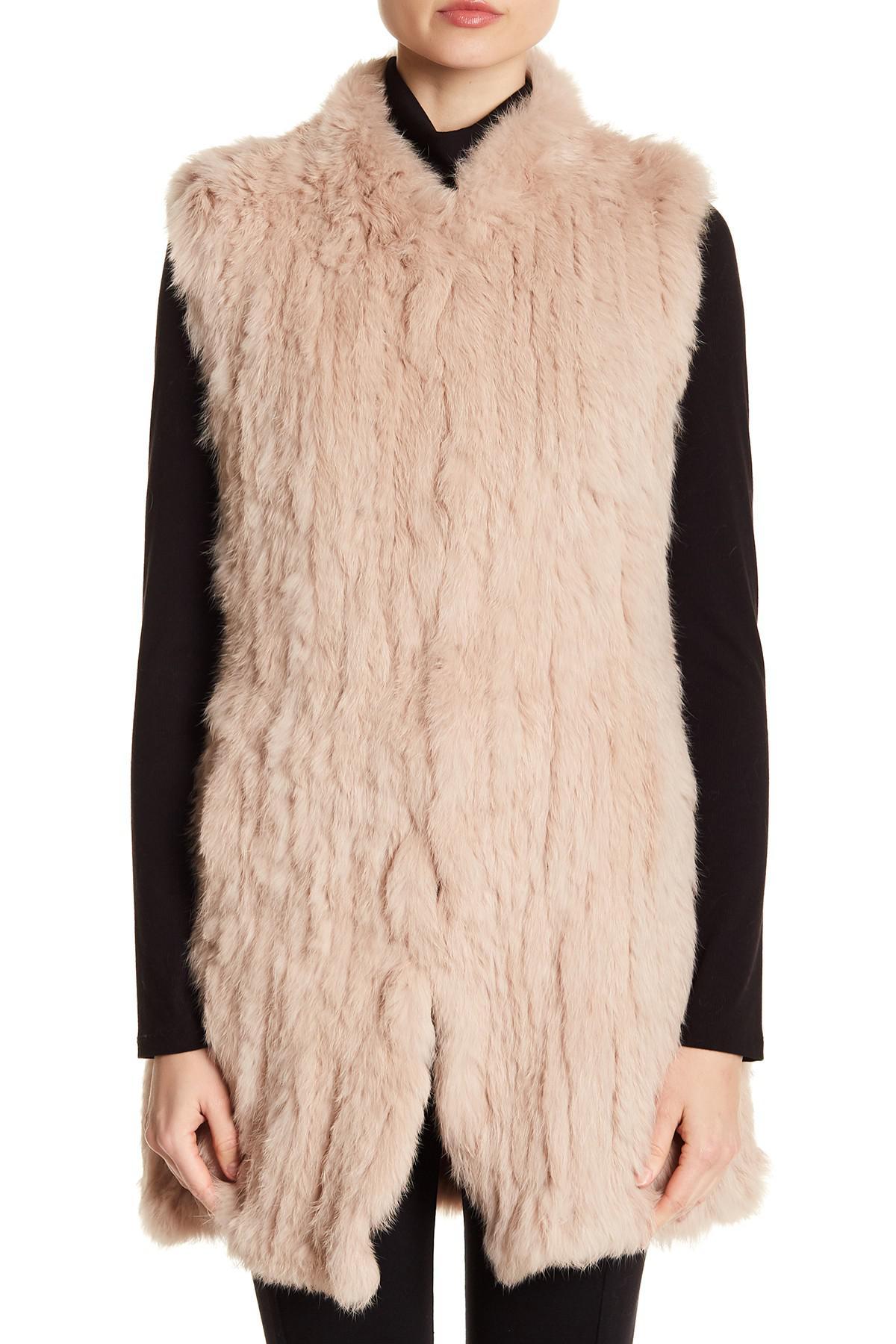5341c4a2c Love Token Long Genuine Dyed Rabbit Fur Vest - Lyst