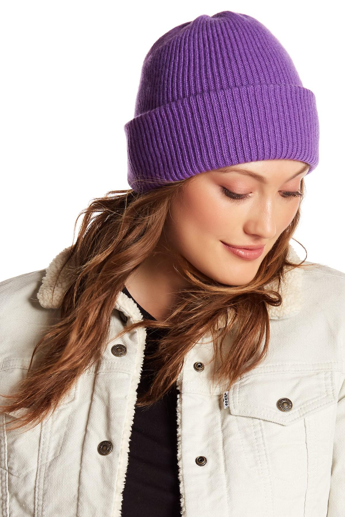 35da1cff3dd Portolano. Women s Purple Cashmere Ribbed Cuff Beanie.  130  50 From Nordstrom  Rack