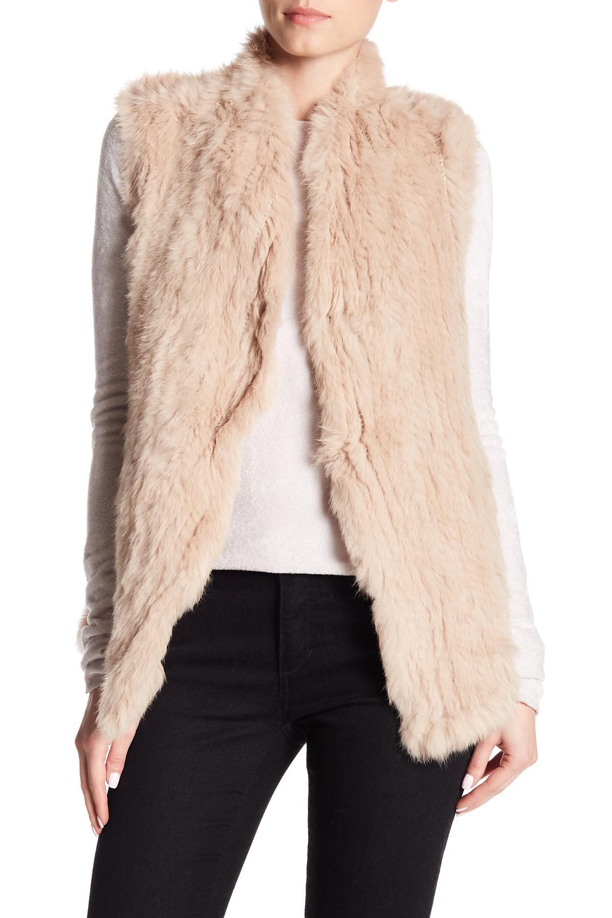 adf2261ee Love Token Genuine Dyed Rabbit Fur High Neck Vest in Pink - Lyst