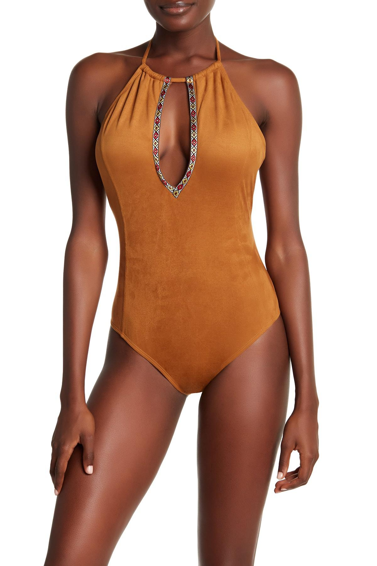 5119bd1da1 Lyst - YMI Faux Suede Geo Trim One-piece Swimsuit in Brown