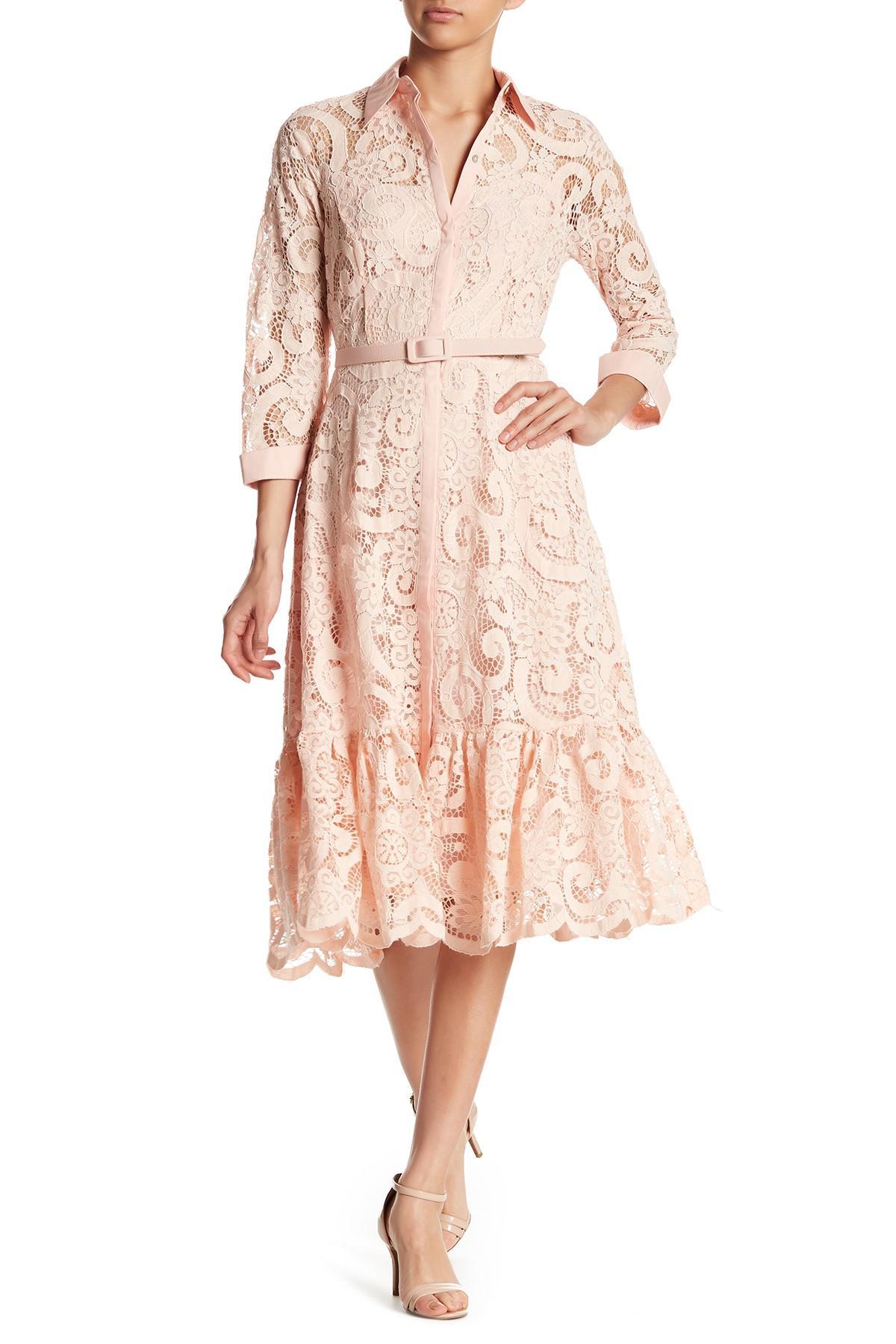 Lyst Nanette Nanette Lepore 3 4 Sleeve Lace Shirt Dress