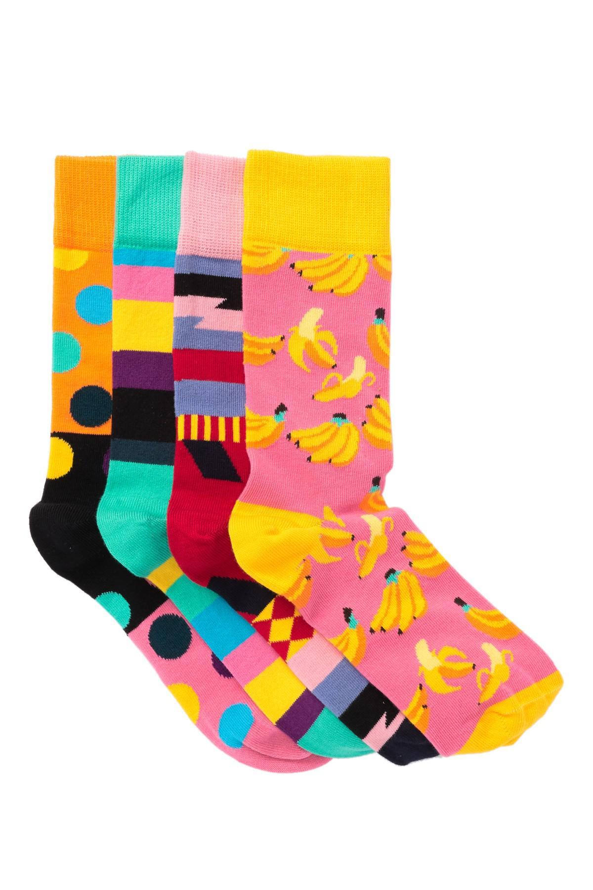 4ef2929b9171e1 Lyst - Happy Socks Assorted Crew Socks - Pack Of 4 in Pink