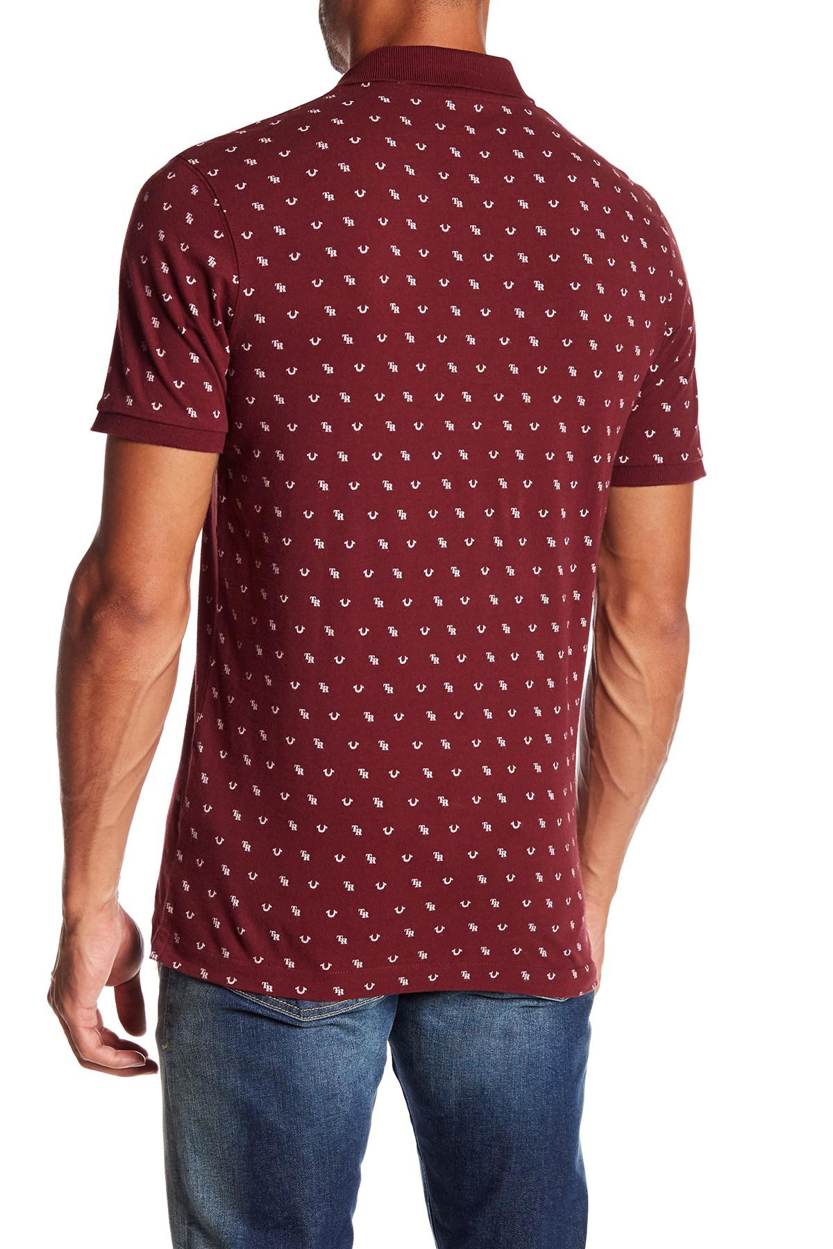 Lyst True Religion Short Sleeve Monogram Polo In Red For Men Kaos Polos Maroon Polka Gallery