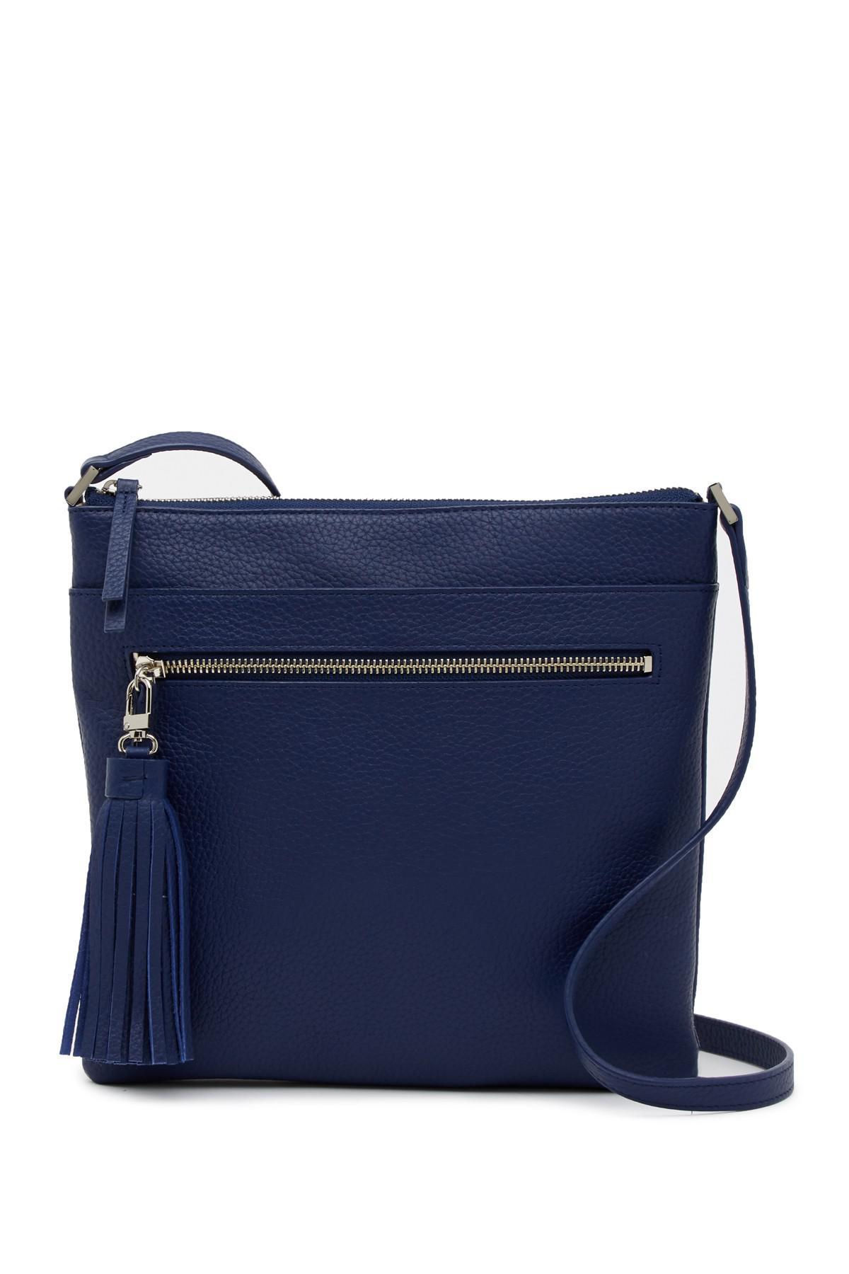 8b912e2cf9 Halogen (r) Tasseled Leather Crossbody Bag in Blue - Lyst