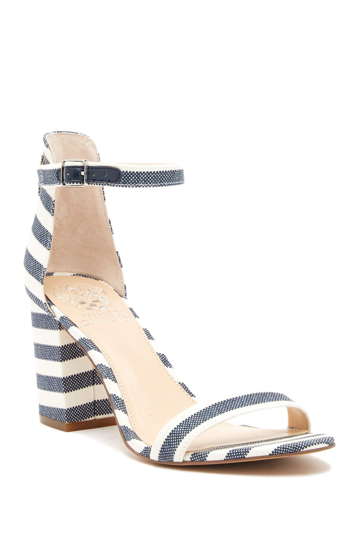 e335cc87819 Vince Camuto Beah Block Heel Ankle Strap Sandal in Blue - Lyst