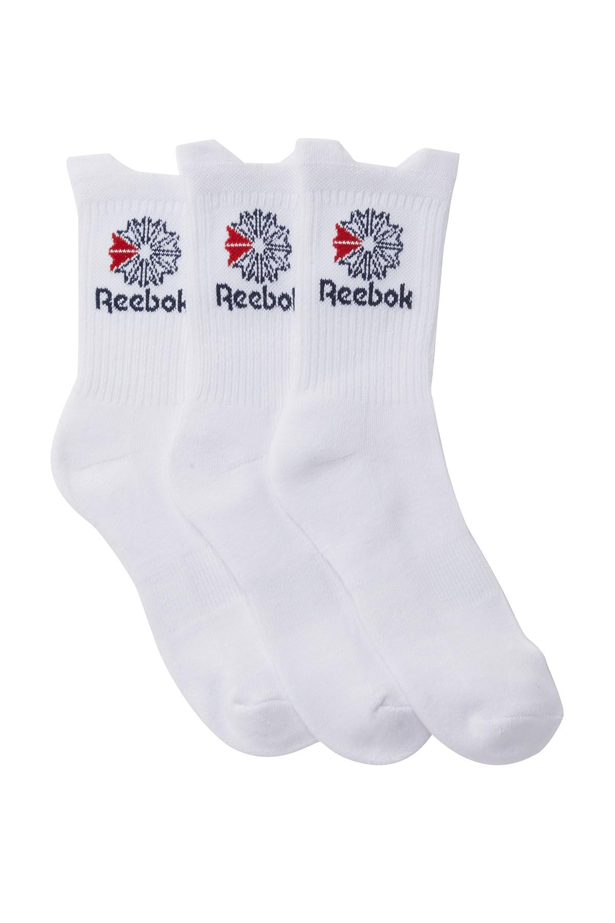 Reebok Performance Crew Cushioned Sport Socks 3 Pack Sporting Goods Socks
