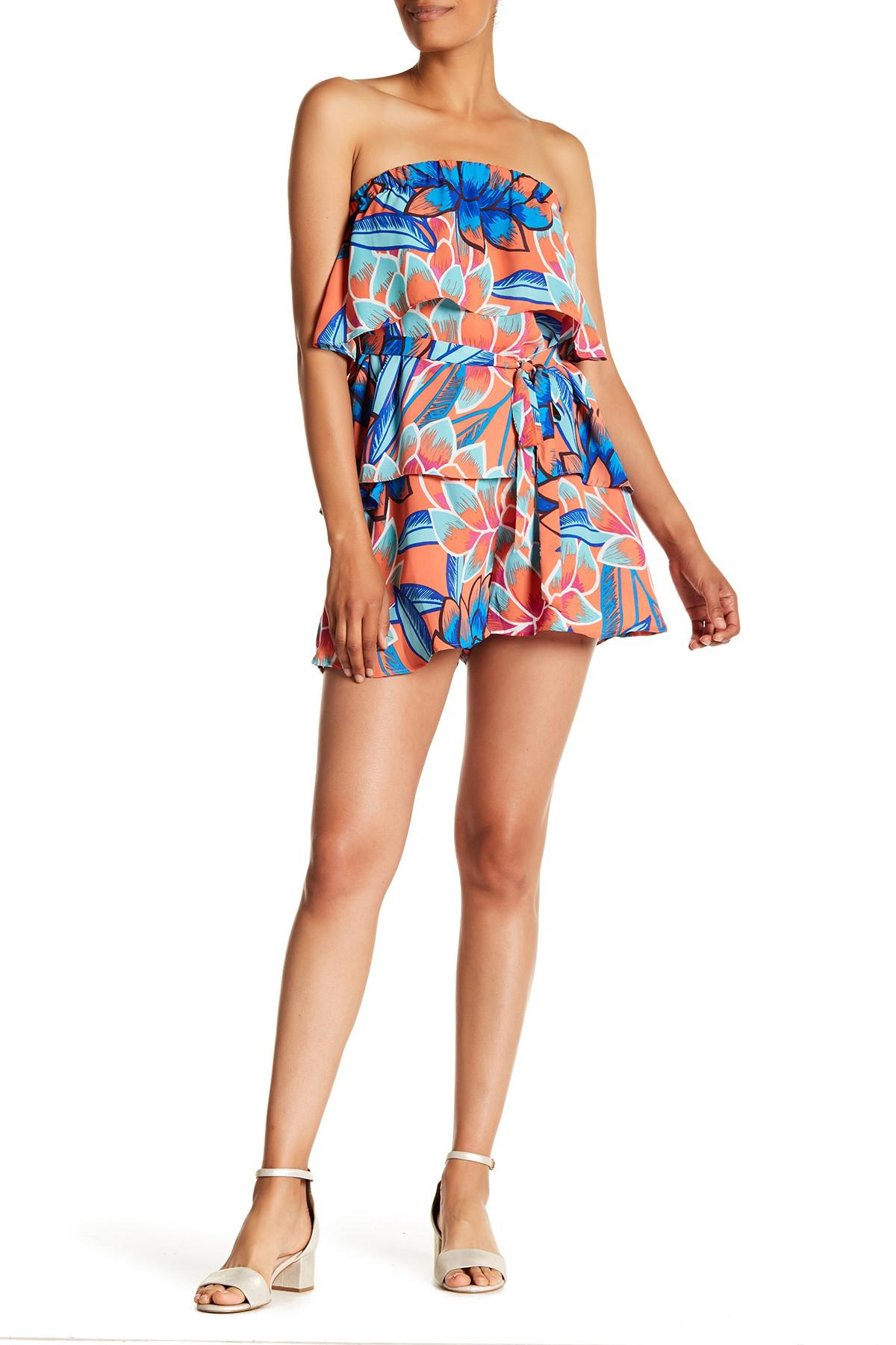 46d3ff04ae64 Lyst - Parker Shioban Strapless Printed Romper in Blue