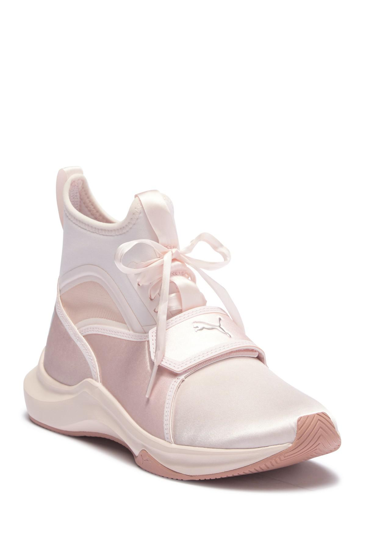 5a3352a3cb6 Lyst - PUMA Phenom Satin Lace Sneaker in White