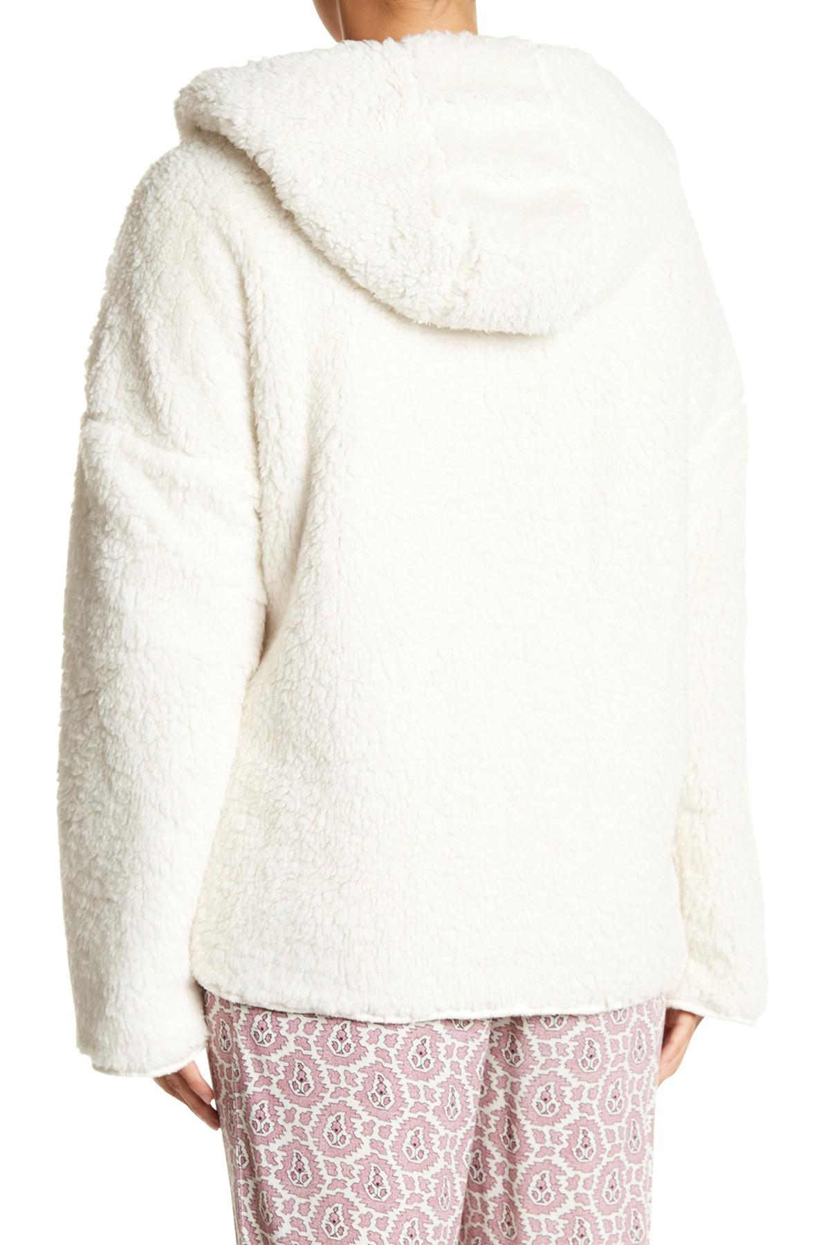 Pj salvage Open Fleece Cardigan in Natural | Lyst