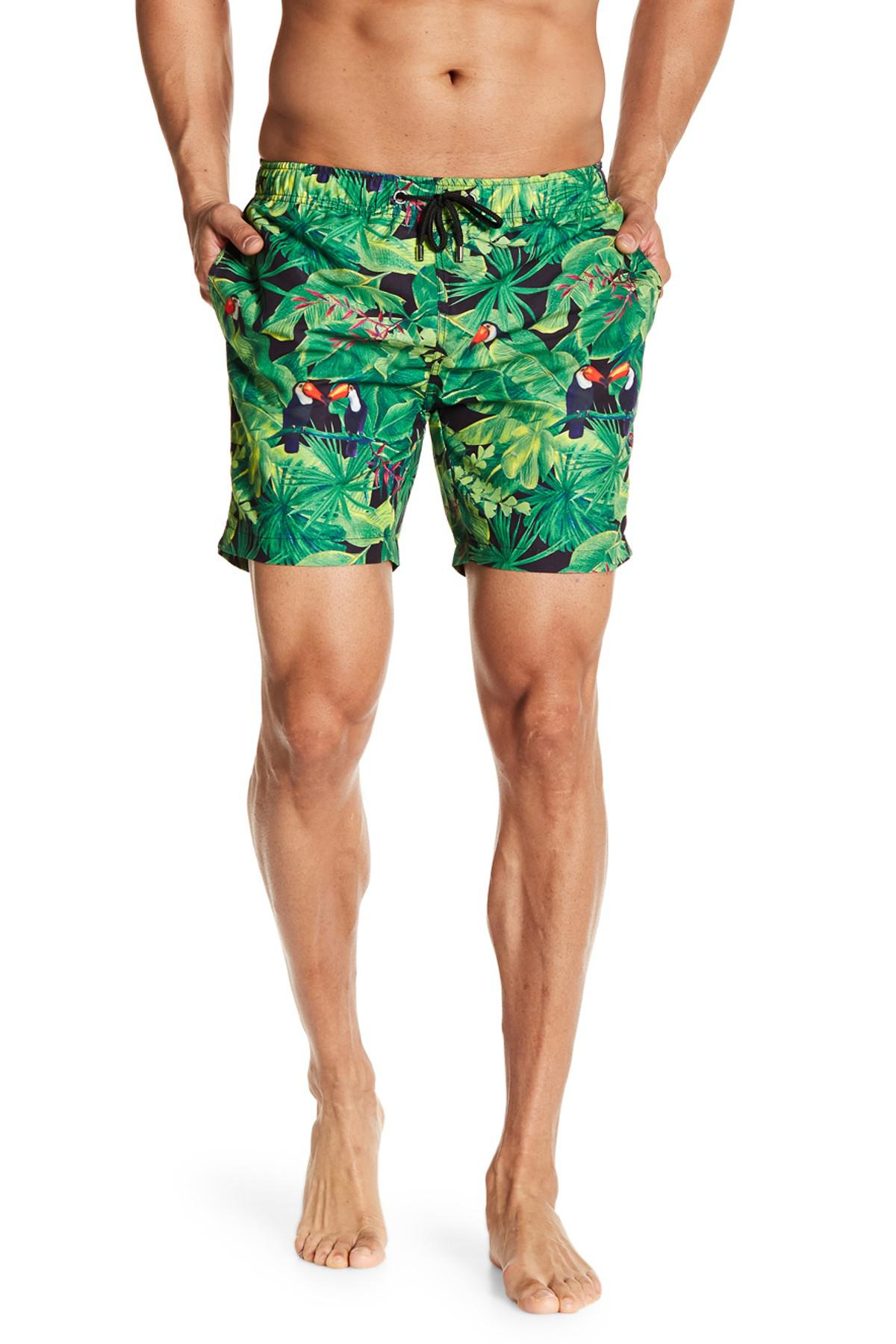 c4dcecf20a Franks Tropical Print Mid Length Swim Trunks in Green for Men - Lyst