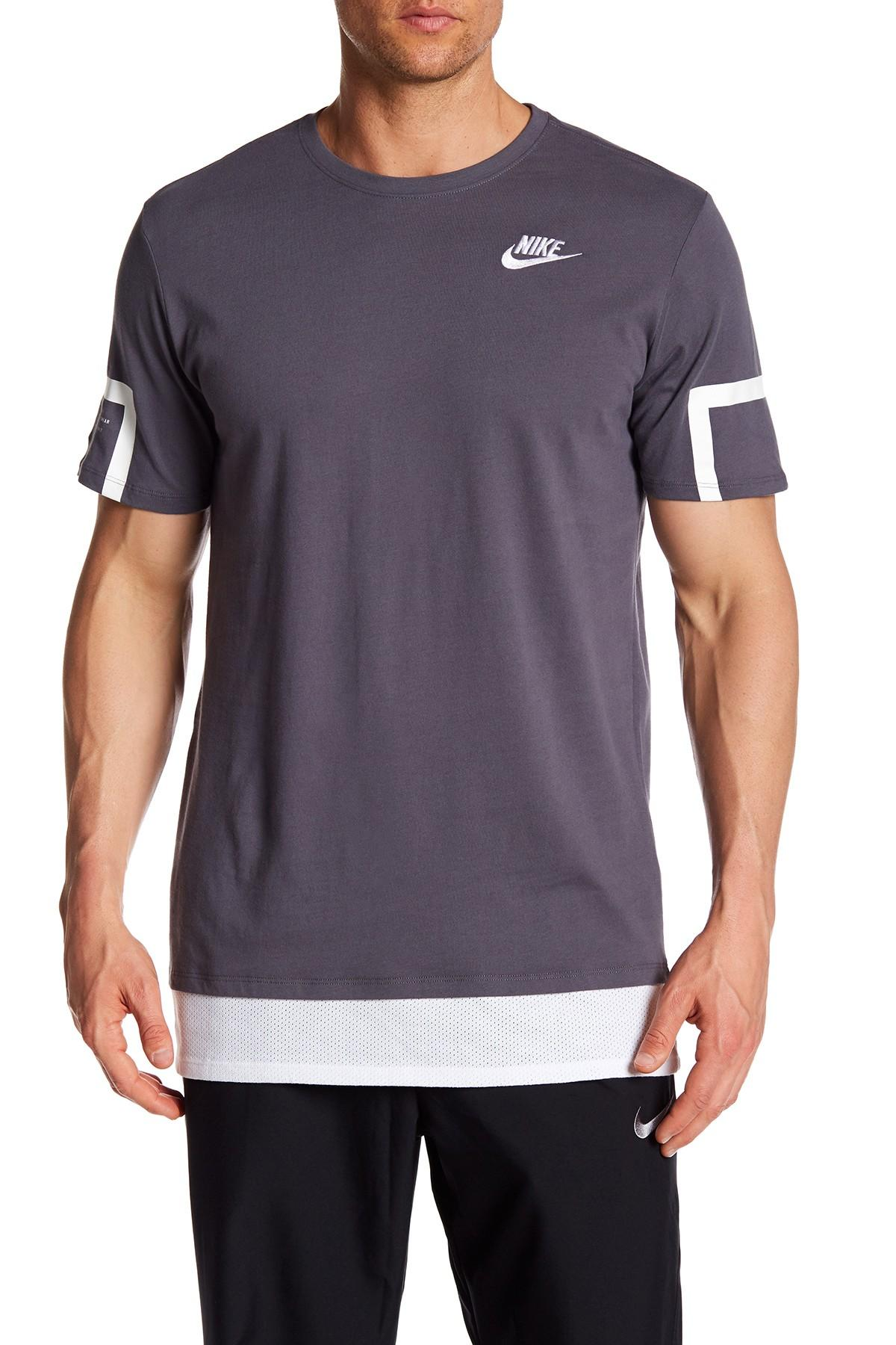 Lyst nike drop tail athletic cut tee in gray for men for Mens athletic cut shirts