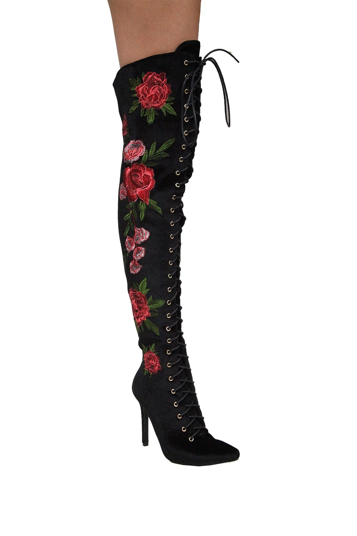 9dcc68a8008 Cape Robbin Mini Embroidered Over The Knee Boot in Black - Lyst