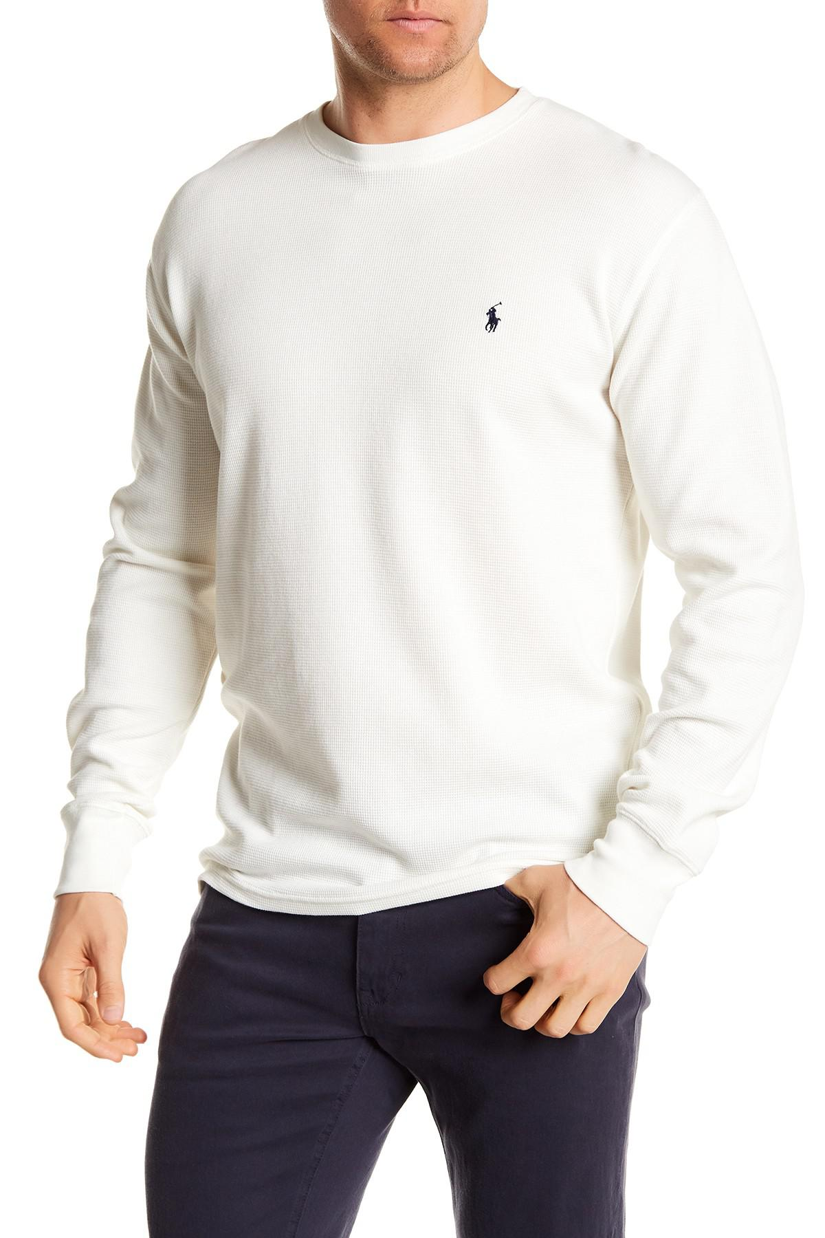 ad8c6eb1c2cd9 Lyst - Polo Ralph Lauren Waffle Knit Long Sleeve Crew Neck Tee in ...