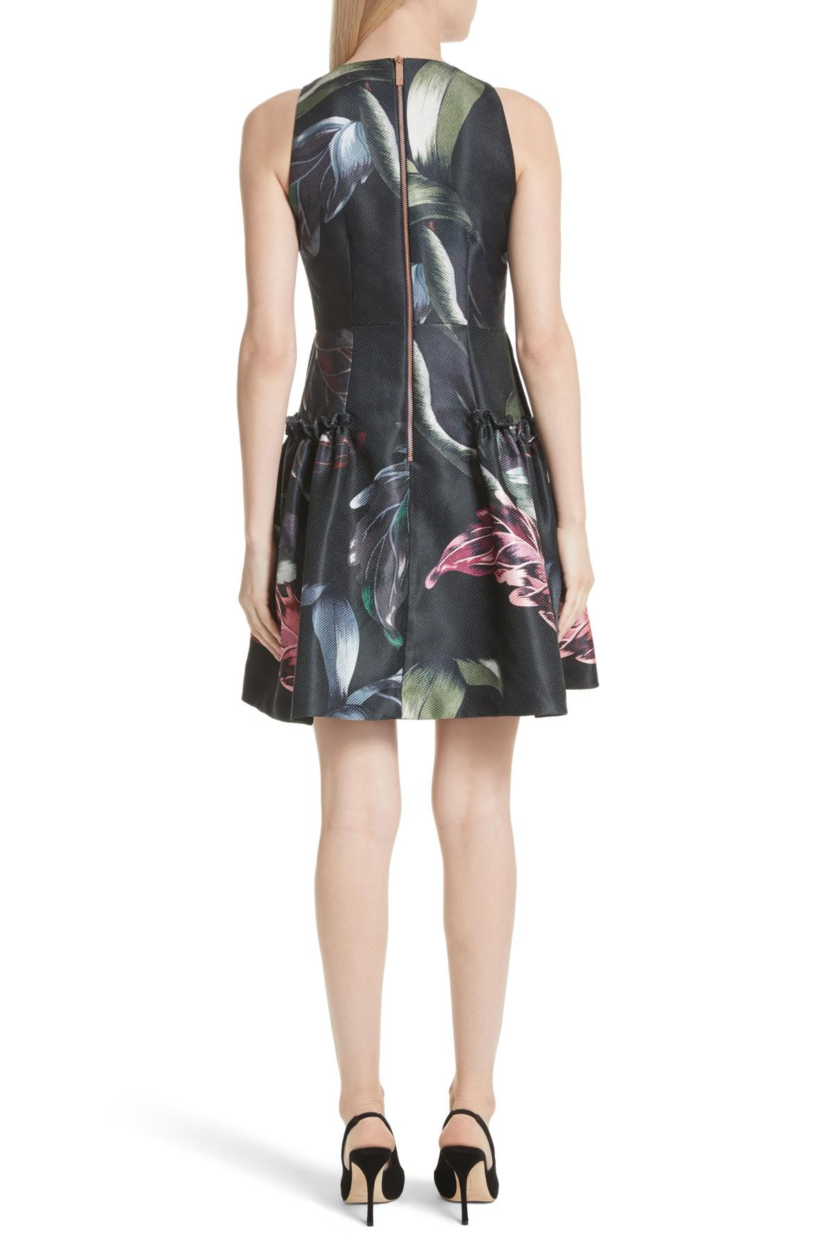 73f652dc68b4c Lyst - Ted Baker Sarahe Floral Fit   Flare Dress in Black