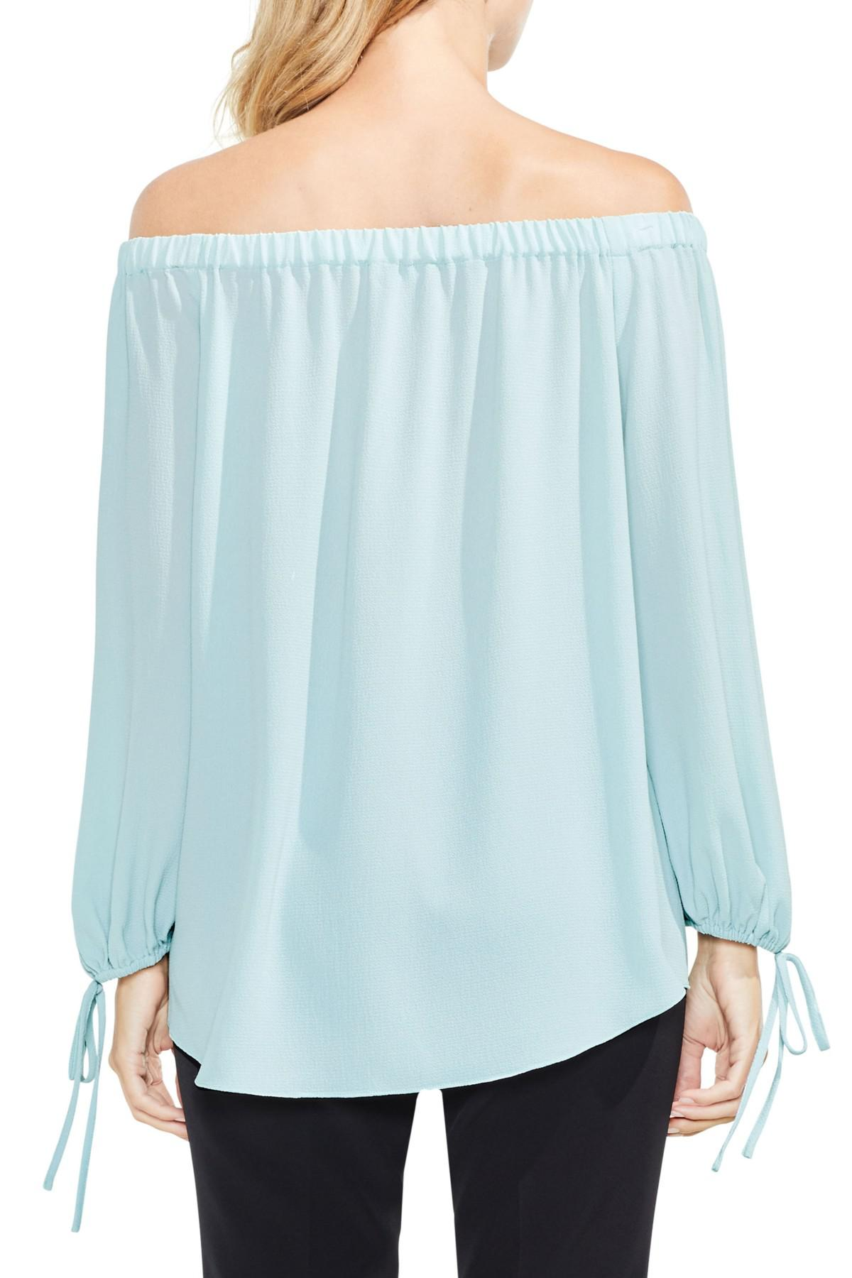 8abc060373fc5 Lyst - Vince Camuto Tie-cuff Off The Shoulder Blouse in Blue