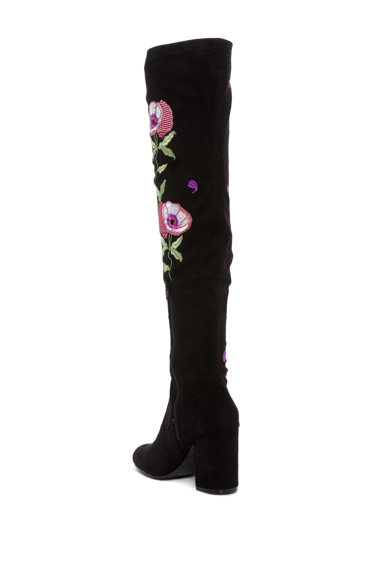 083f8794186 Lyst - Carlos By Carlos Santana Embroidered Over-the-knee Boot in Black
