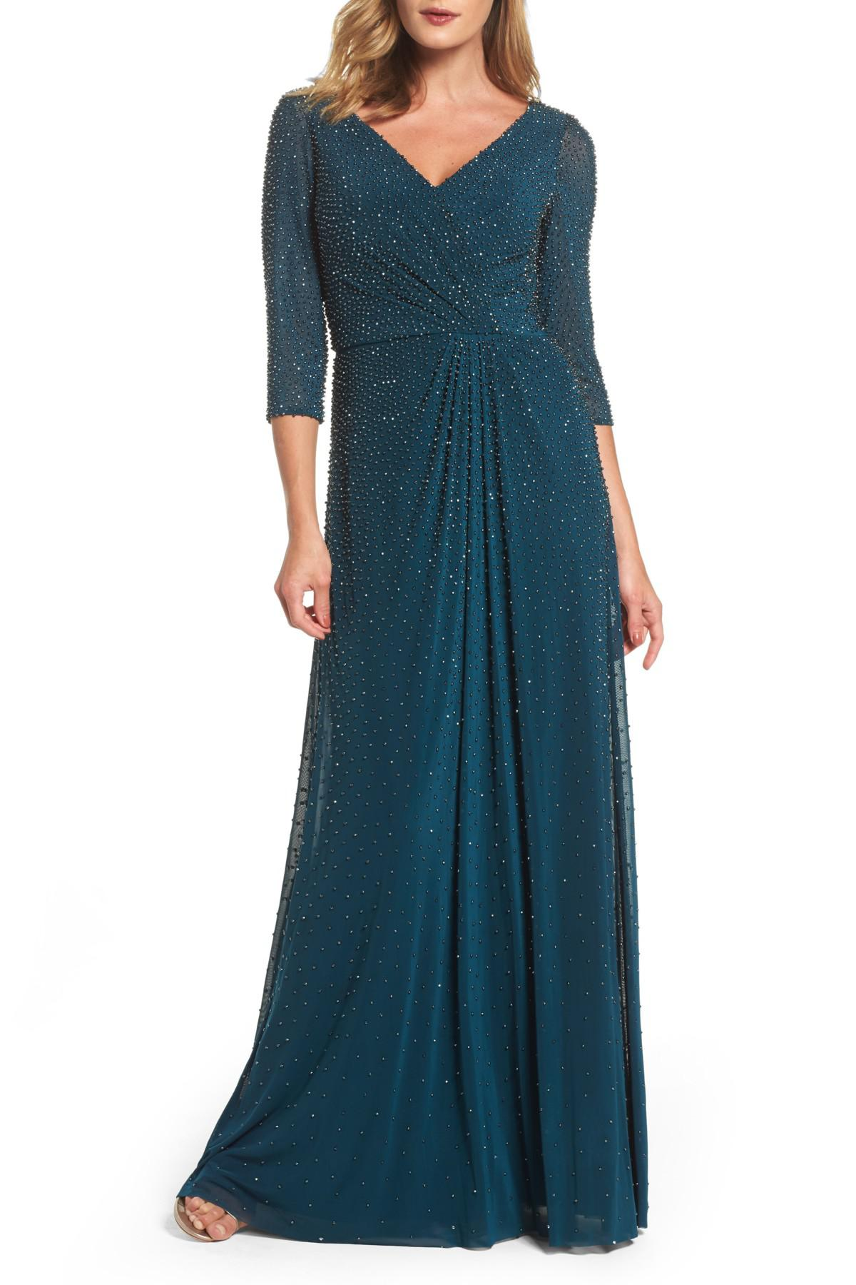 Lyst - La Femme Beaded Twist Knot Waist Gown in Blue - Save ...