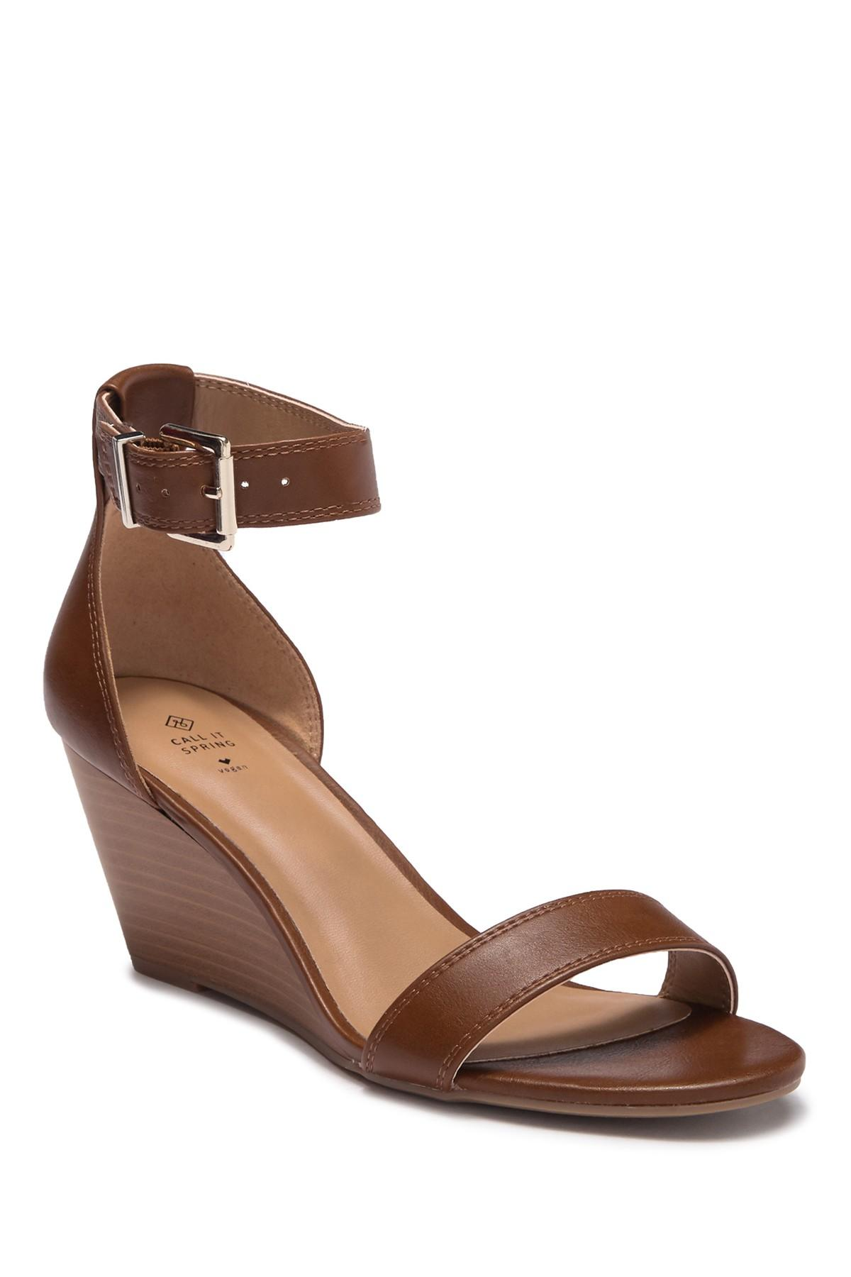e563c9f0479 Lyst - Call It Spring Abaussa Open Toe Wedge Sandal in Brown