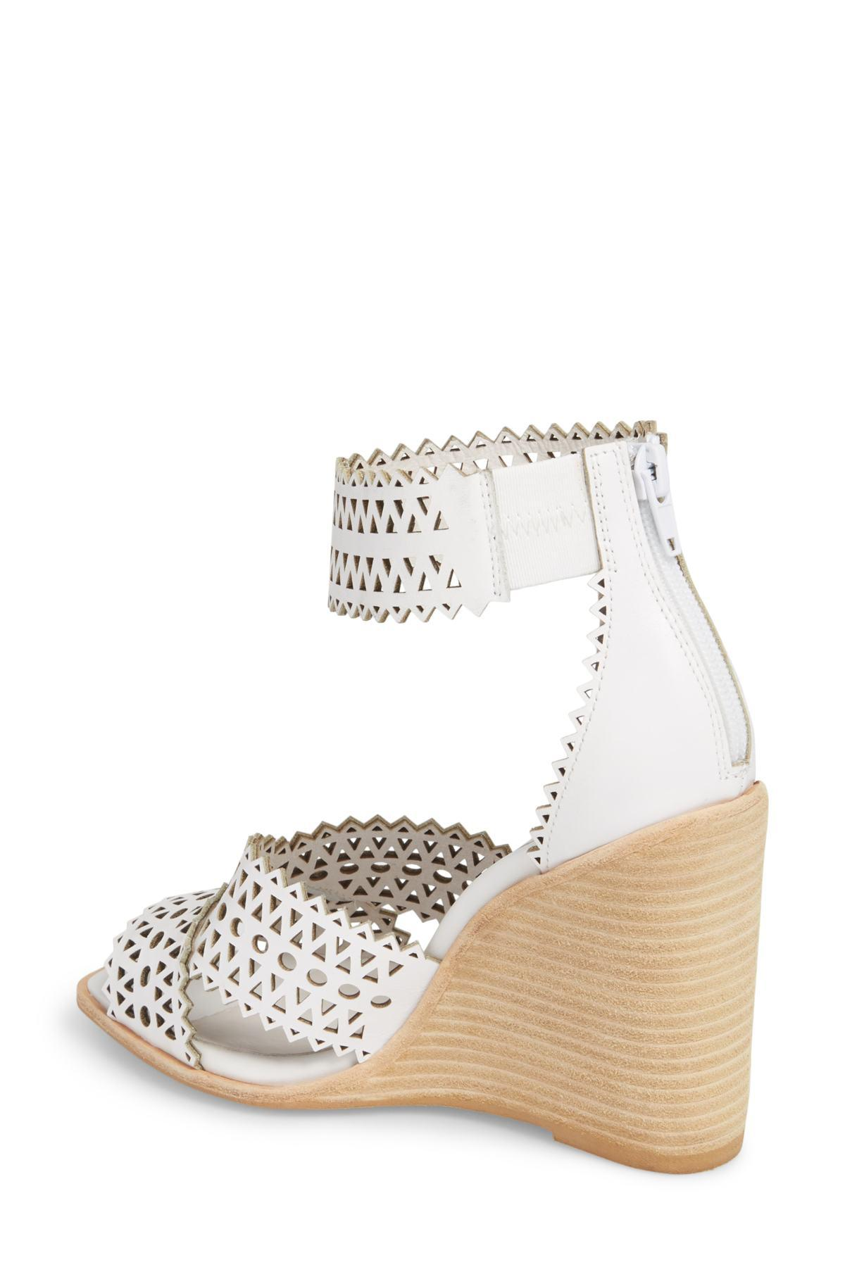 0f0b57a5b37 Jeffrey Campbell - White Besante Perforated Wedge Sandal (women) - Lyst.  View fullscreen