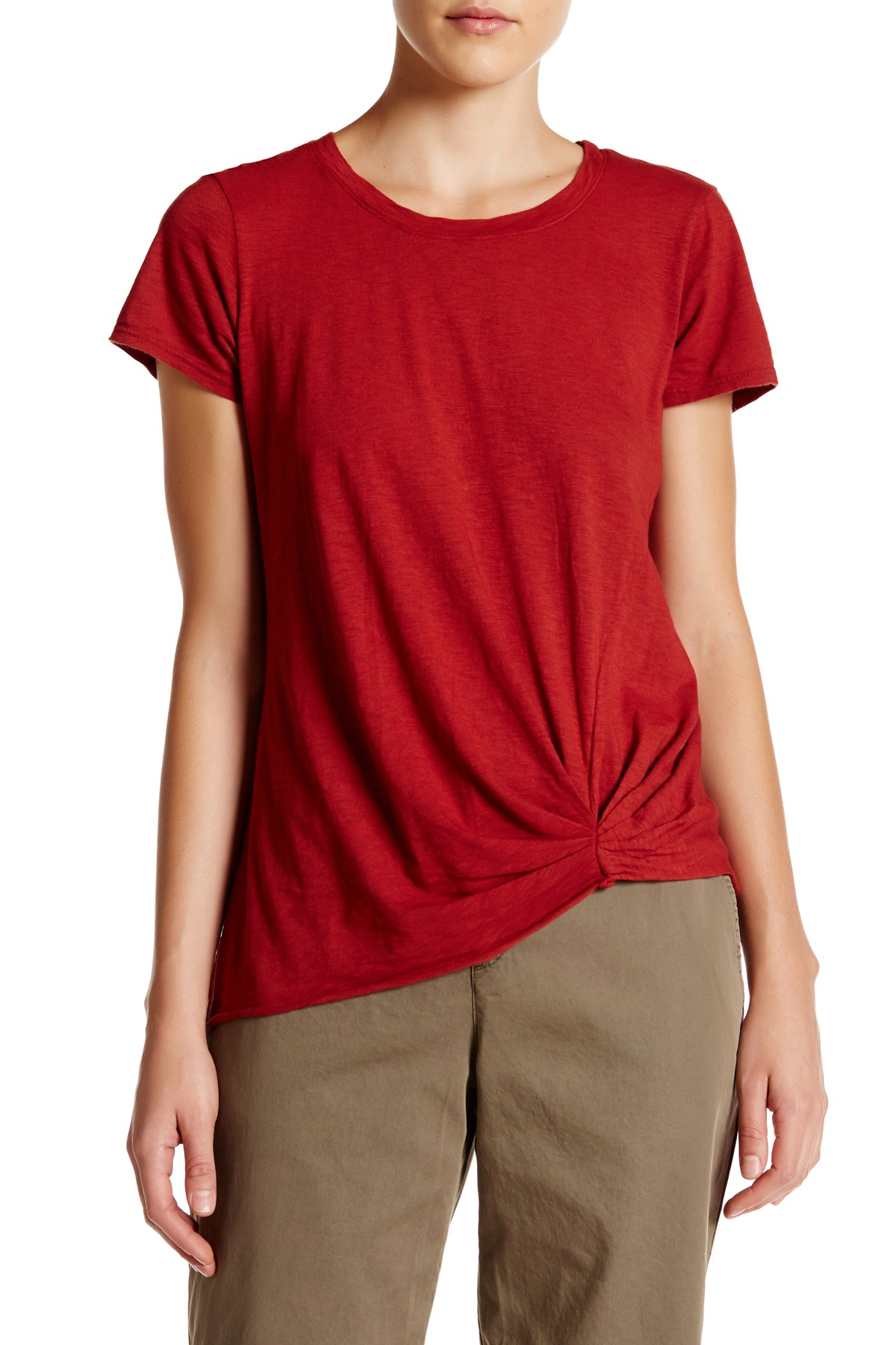 Michael stars pleated detail crew neck tee in red lyst for Michael stars tee shirts
