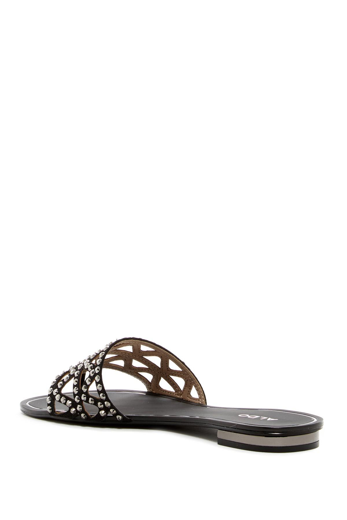 565602669aef Lyst - ALDO Fridia Studded Cutout Thong Sandal in Black