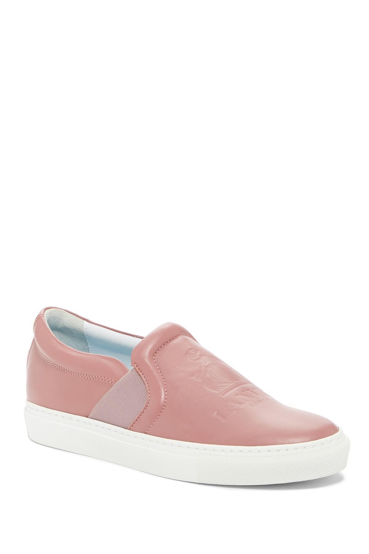 Lyst - Lanvin Embossed Logo Slip-on Sneaker in Pink