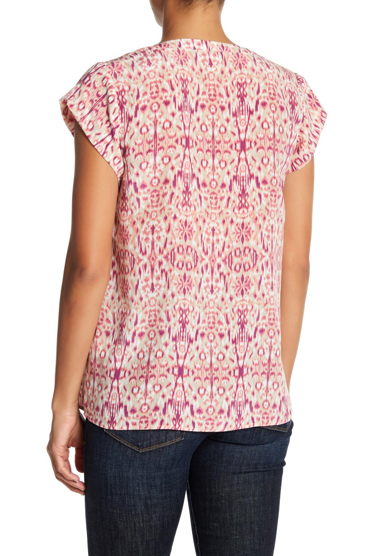 1f5c5ca56735c1 Lyst - Joie Rubina Short Sleeve Print Silk Blouse in Pink
