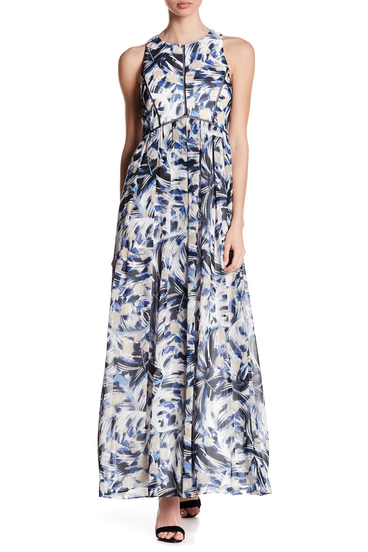 332c7f5e952 Vince Camuto High Crew Neck Print Maxi Dress in Blue - Lyst