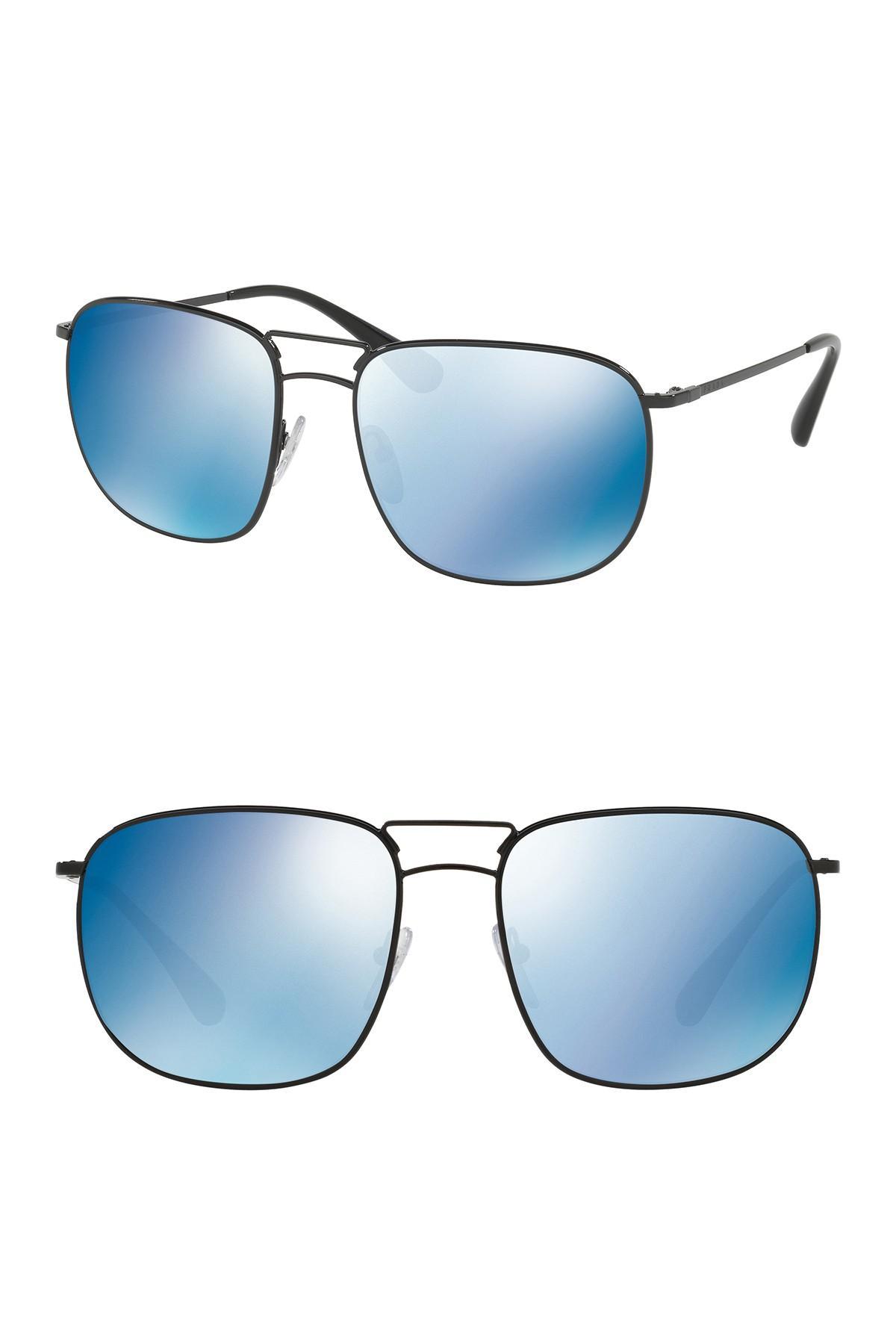0e579da6b2 Lyst - Prada Pillow Conceptual 60mm Navigator Sunglasses in Black ...