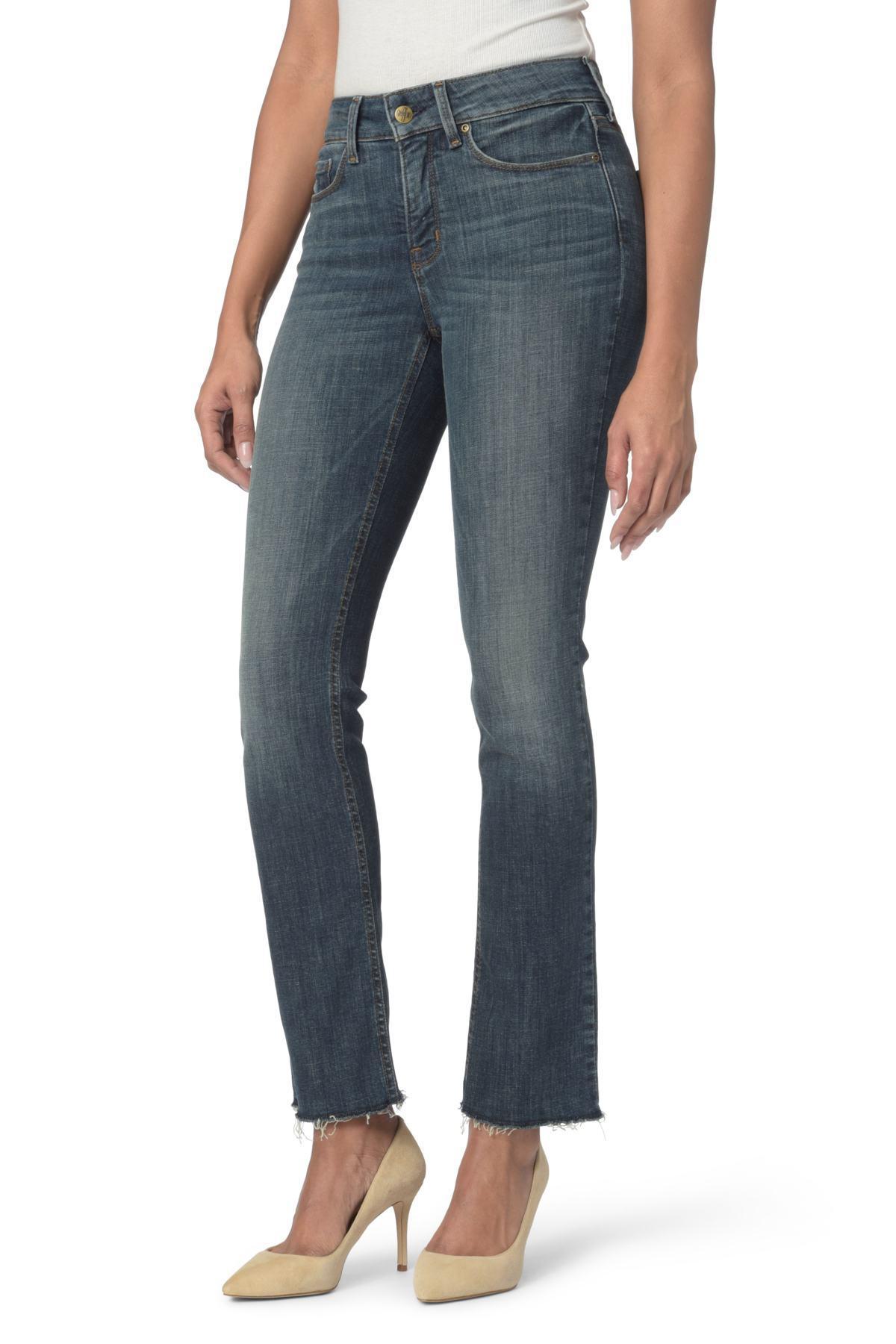 604c619a774 Lyst - NYDJ Marilyn Raw Hem Stretch Ankle Straight Leg Jeans in Blue ...