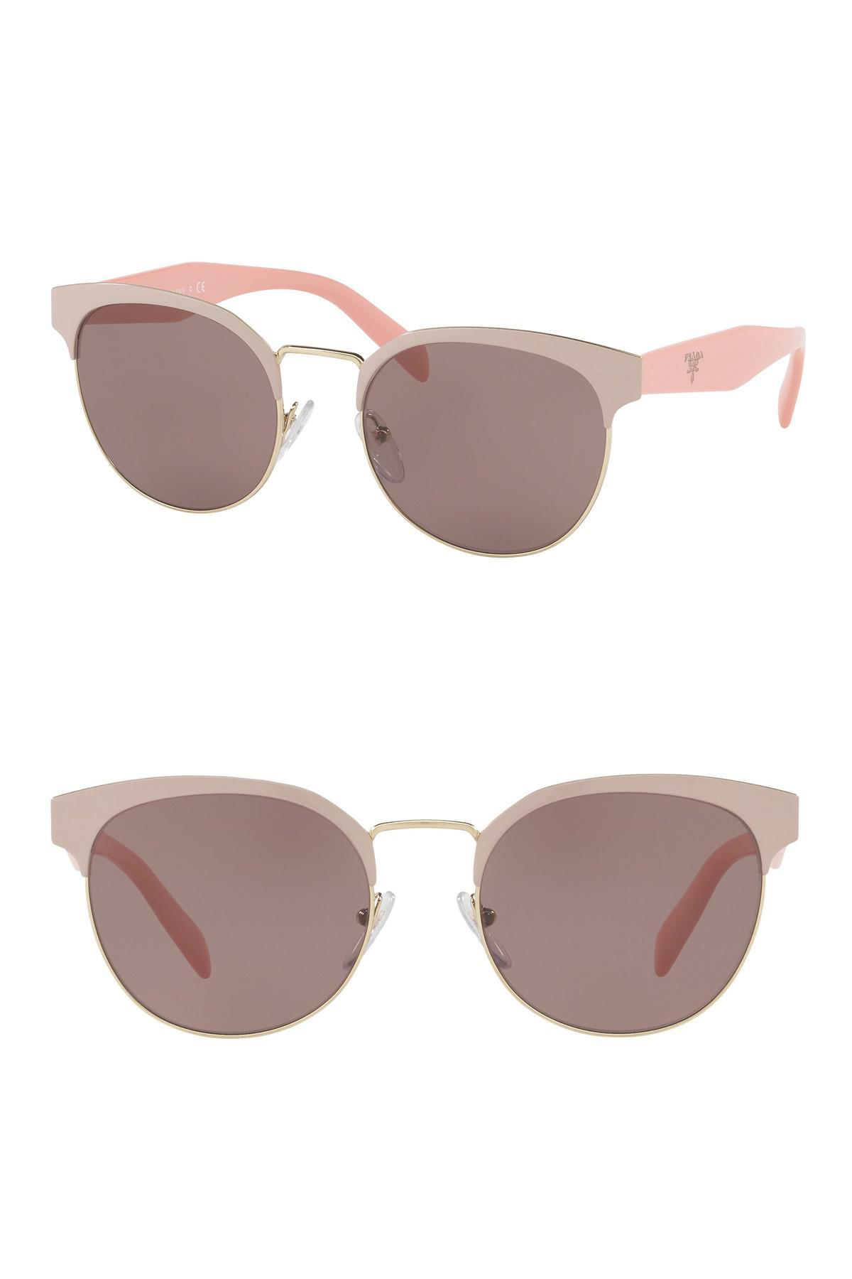 ee76680b329 Lyst - Prada 54mm Gradient Round Sunglasses in Natural
