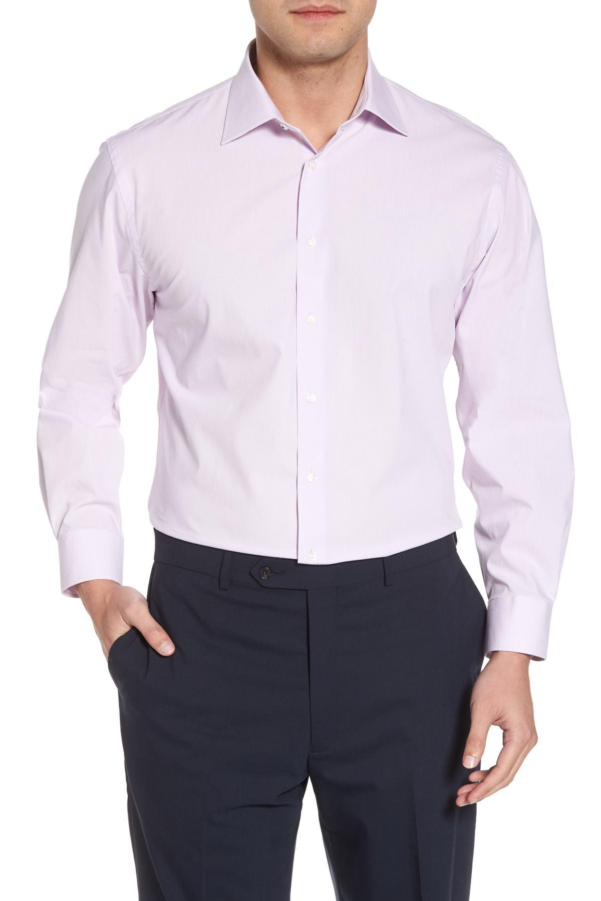 cfac82d86e313a Lyst - Nordstrom Tech-smart Traditional Fit Stretch Microdot Dress ...