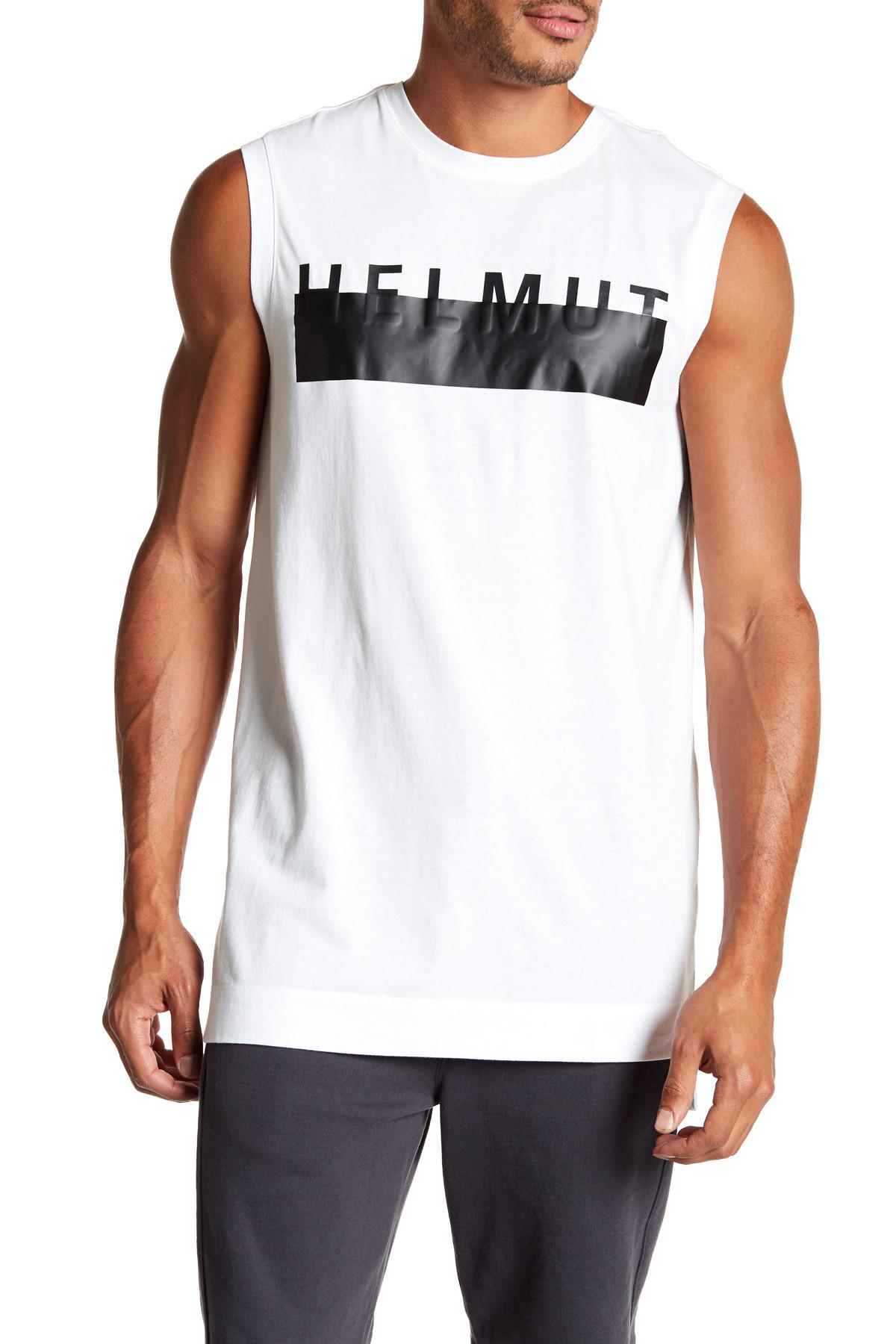 a62fb6d71fcc81 Lyst - Helmut Lang Logo Print Muscle Tank in White for Men