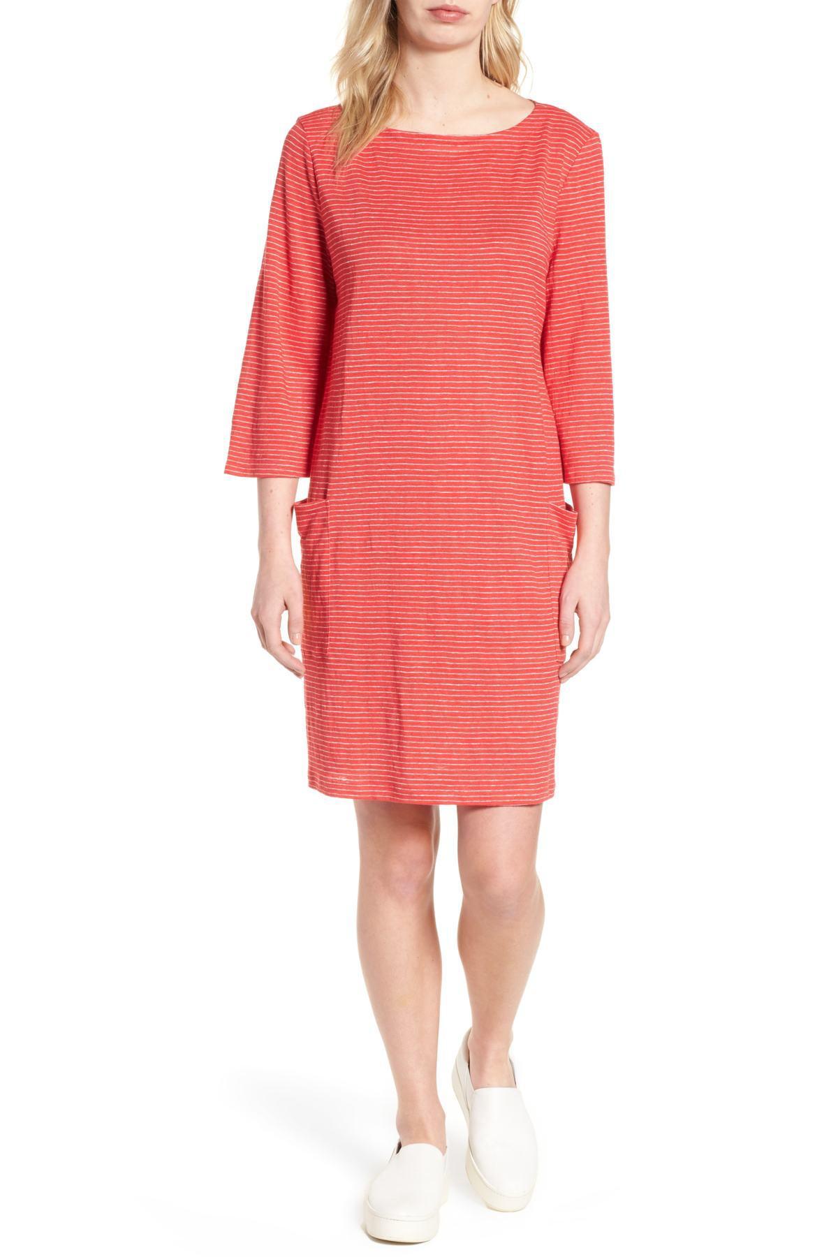 dfb4d180bc Lyst - Eileen Fisher Bateau Nk K l Dress in Pink