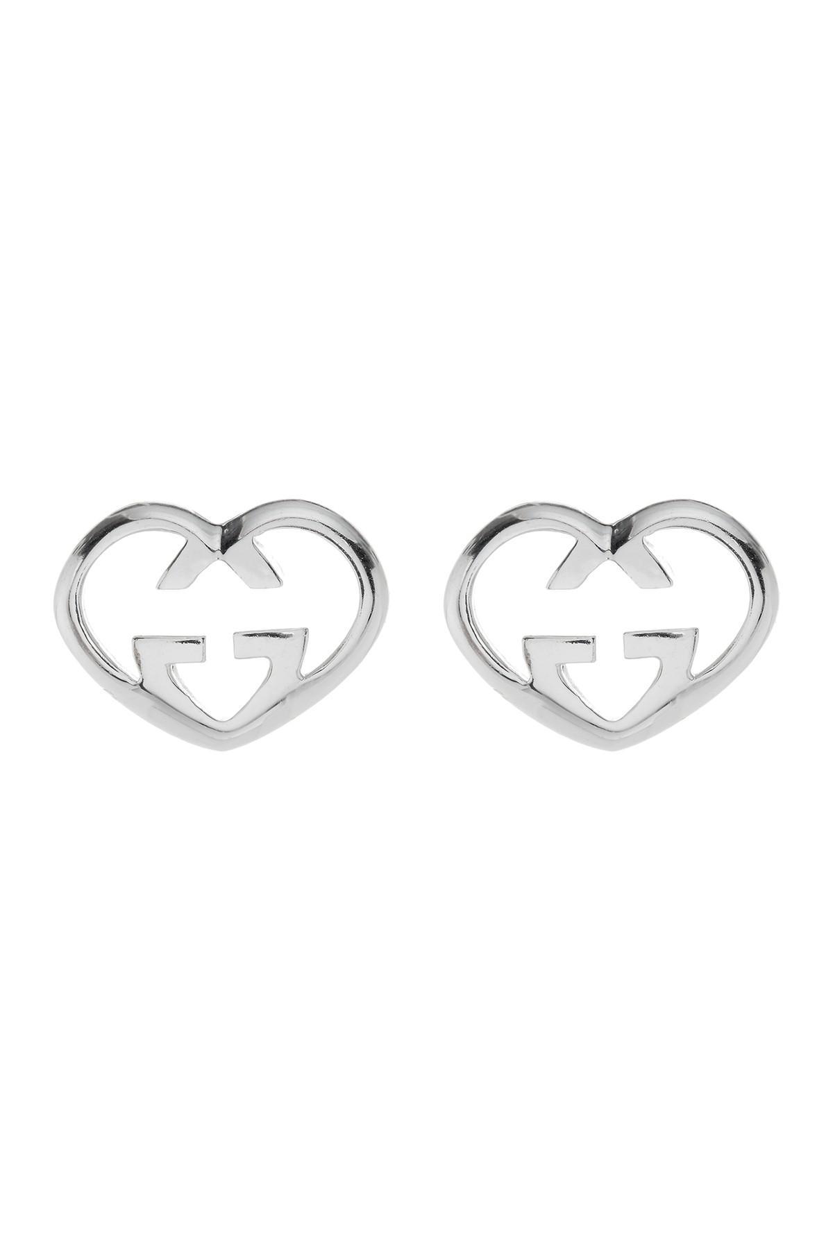 180f901e4e5 Lyst - Gucci Sterling Silver Love Heart Stud Earrings in Metallic