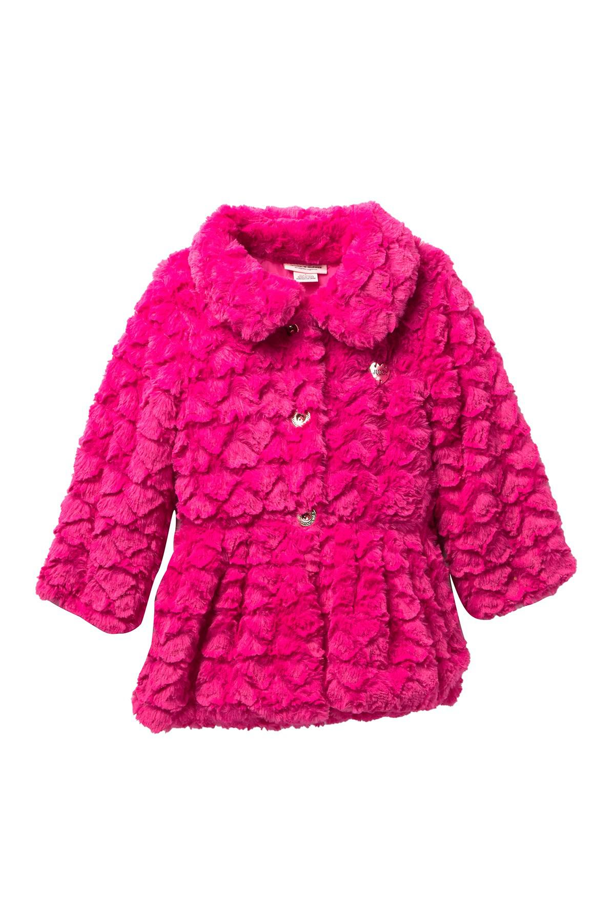 fd0195abe Juicy Couture Fuchsia Embossed Heart Faux Fur Jacket (baby Girls) in ...