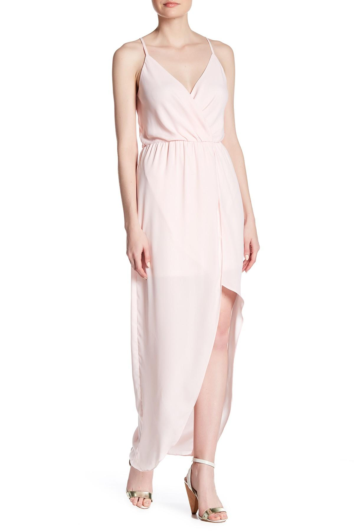 Charles Henry Camisole Hi Lo Wrap Dress In Pink Lyst