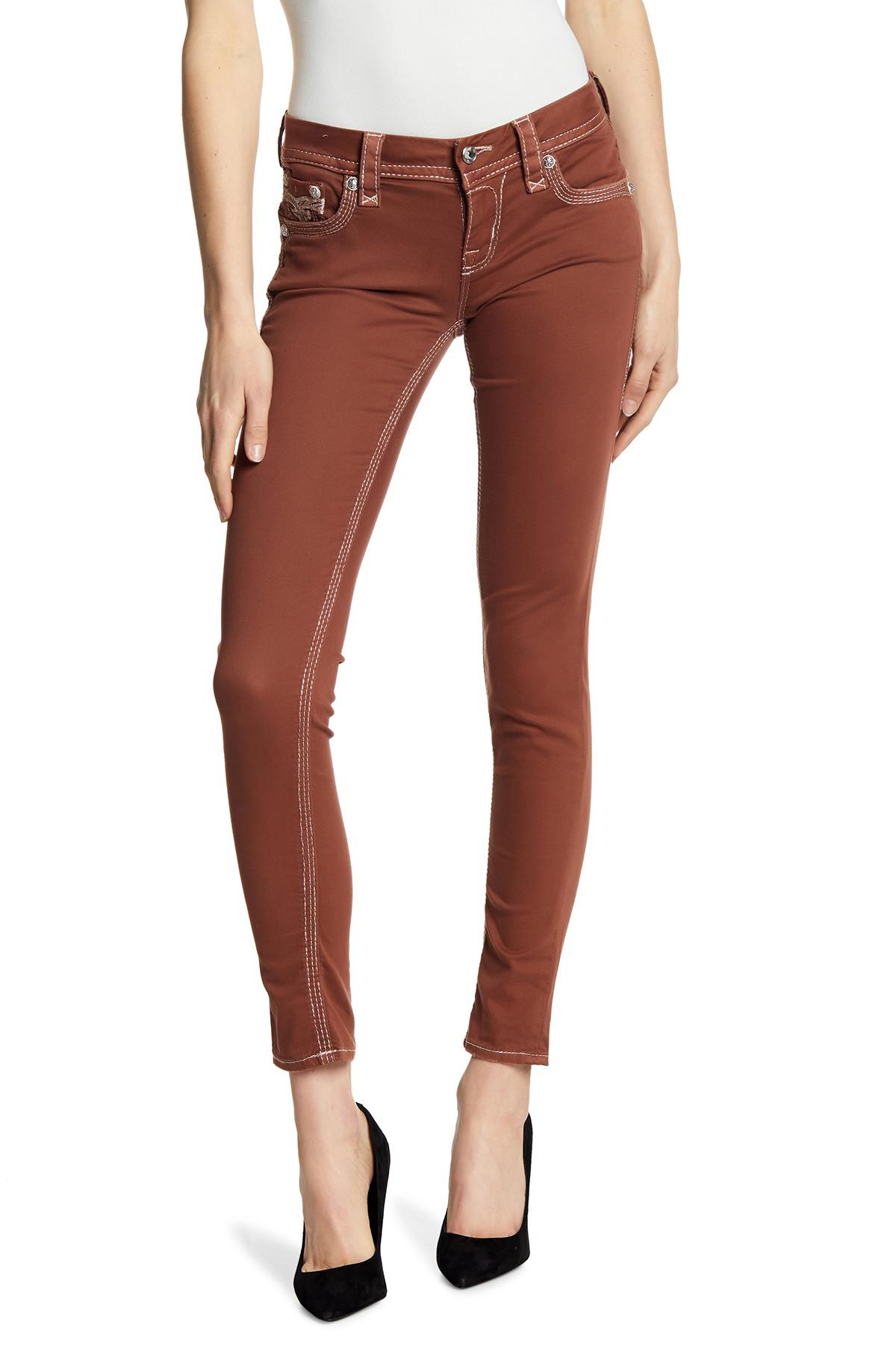 984b576a02 Lyst - Rock Revival Roselle Metallic Stitch Skinny Jeans