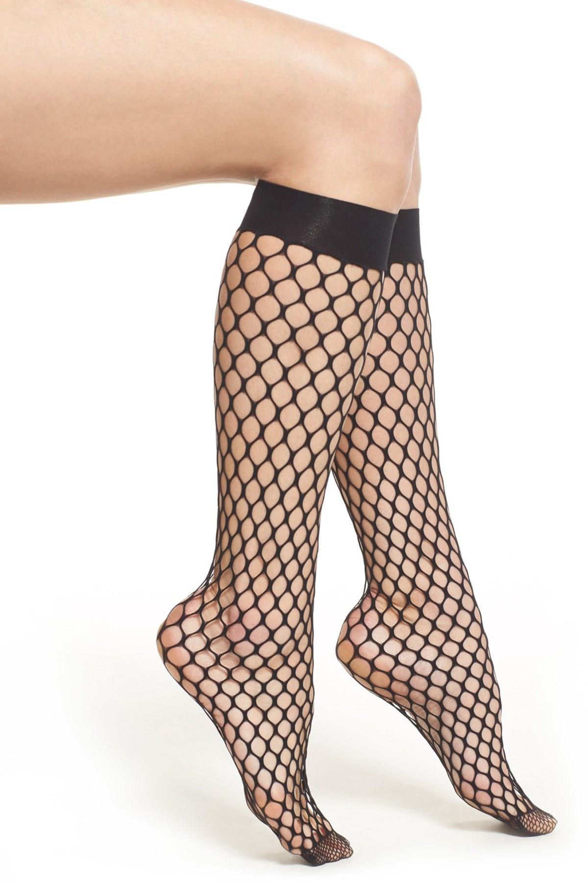 8341944e2f88a Wolford 'madeline' Fishnet Knee High Socks in Black - Lyst