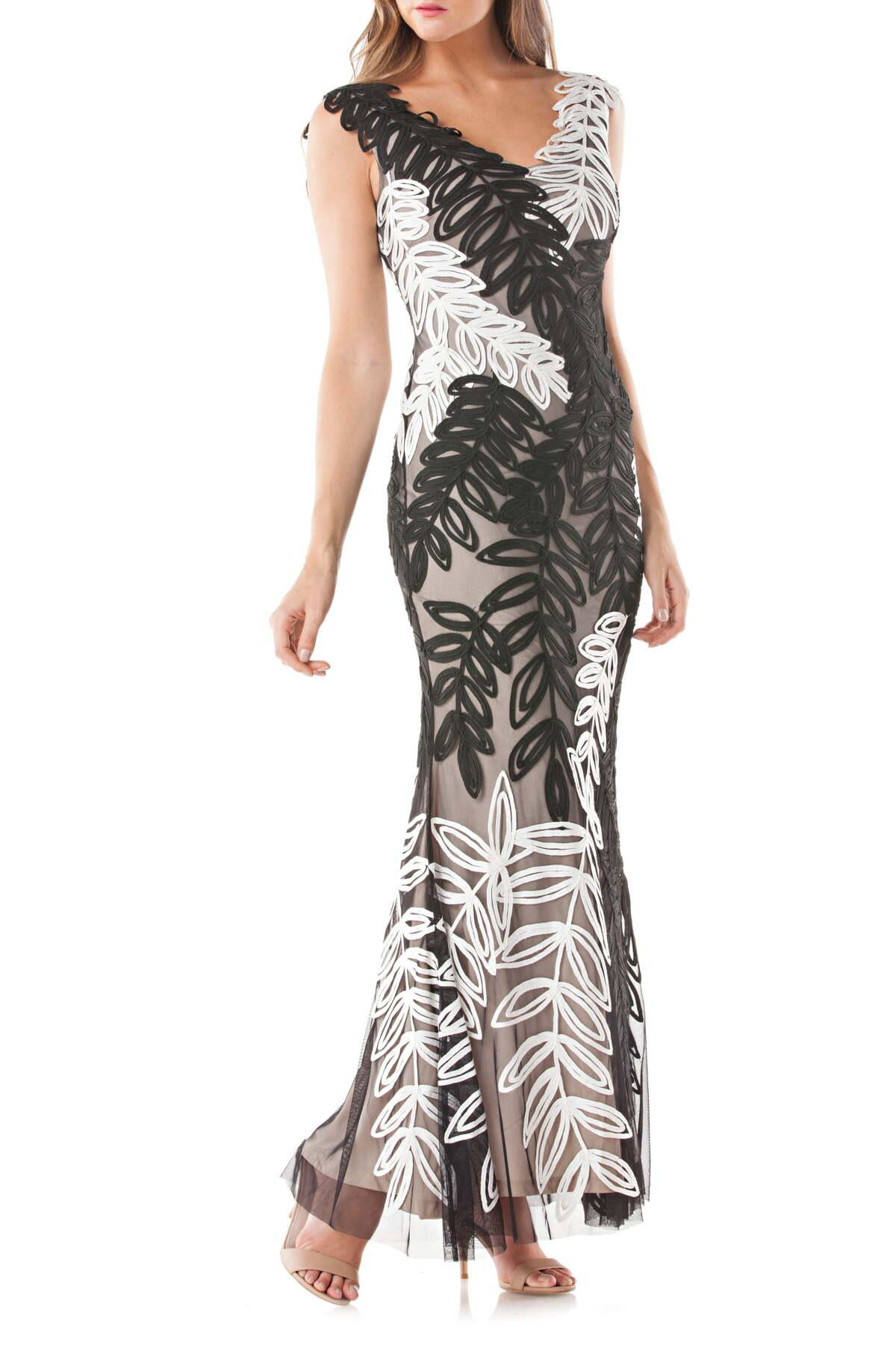 91d92712 JS Collections Leaf Soutache Trumpet Gown in Black - Save 69% - Lyst