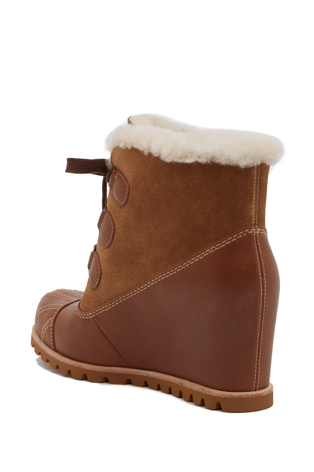 3227e64b44f Lyst - UGG Alasdair Genuine Shearling Lined Waterproof Wedge Bootie ...