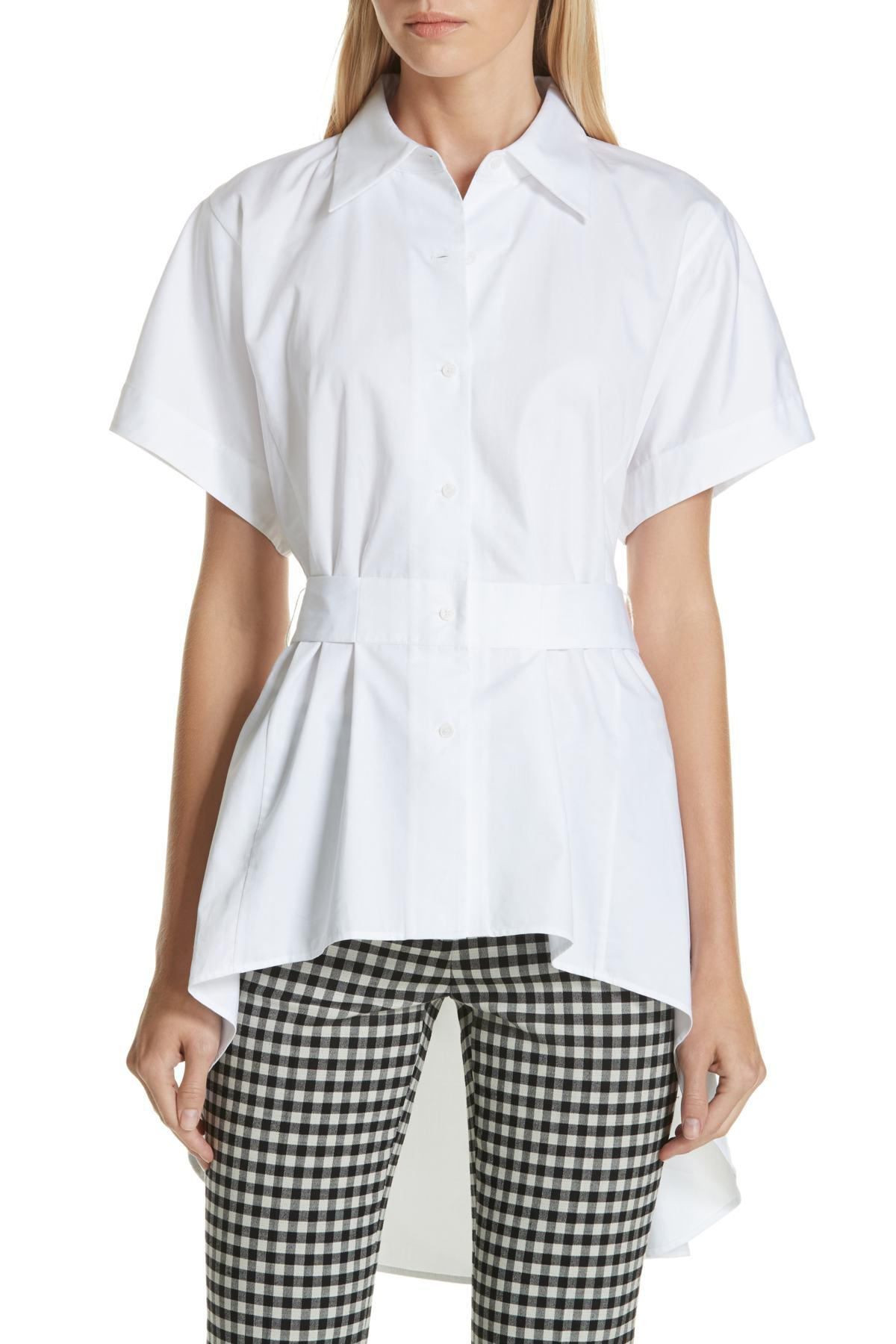58de0ade59d4f5 LEWIT High low Tunic Shirt in White - Save 80% - Lyst