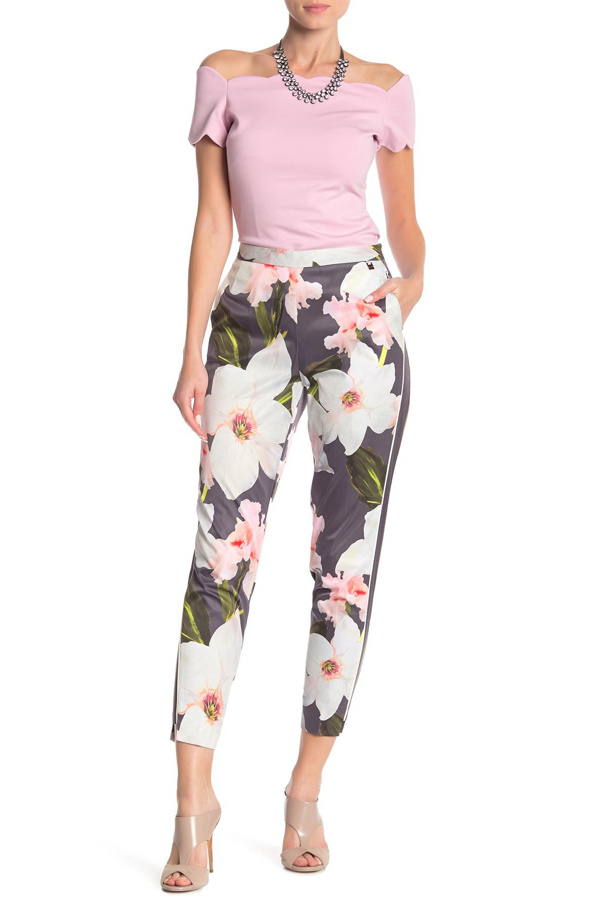 378c1262ad99c Lyst - Ted Baker Chatsworth Floral Tapered Trousers in Gray