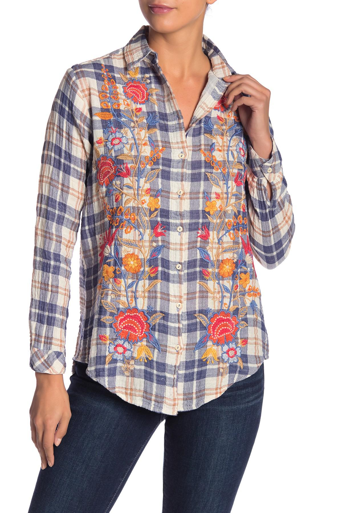 95cb43dafea Lyst - Johnny Was Adira Embroidered Plaid Button Down Shirt in Blue