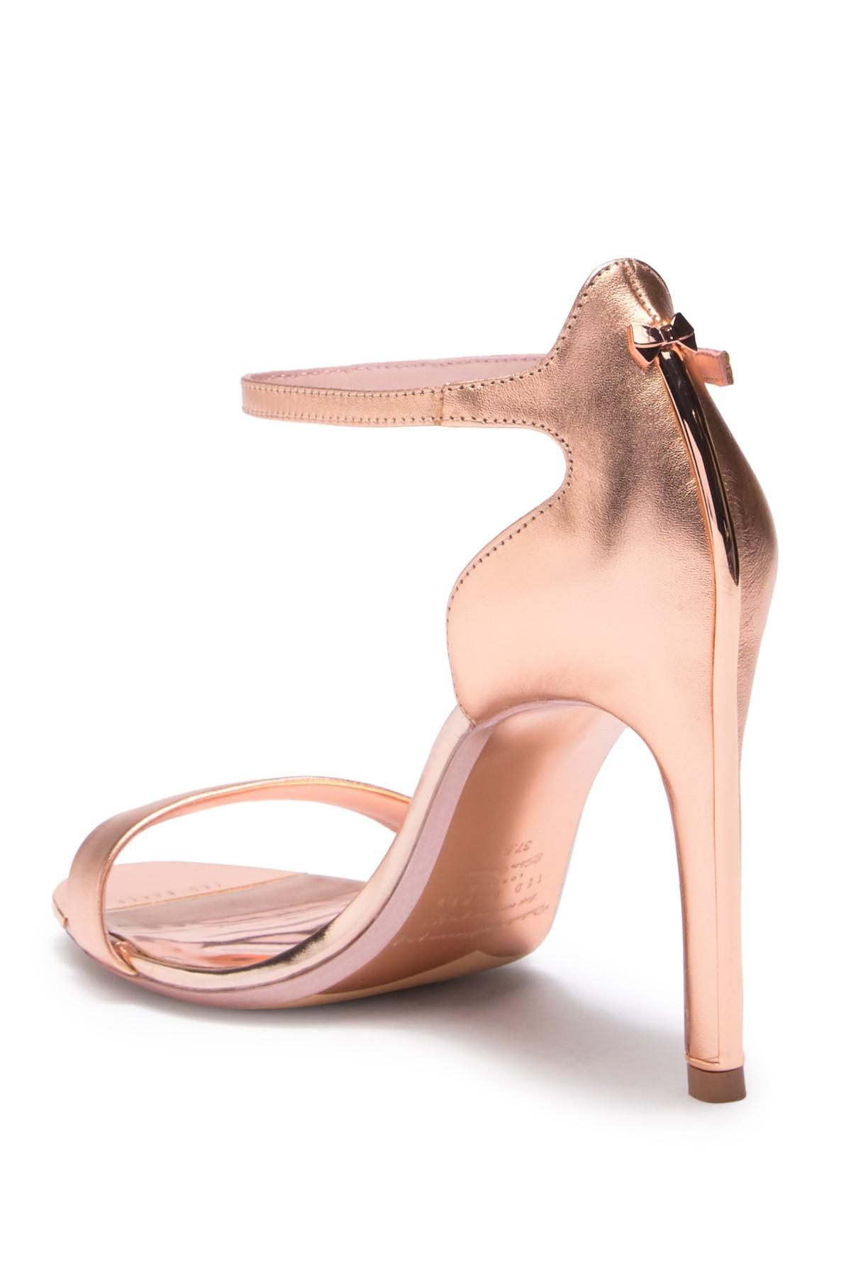 ee4fecd57d87 Lyst - Ted Baker Sharlot Leather Heel Sandal in Pink