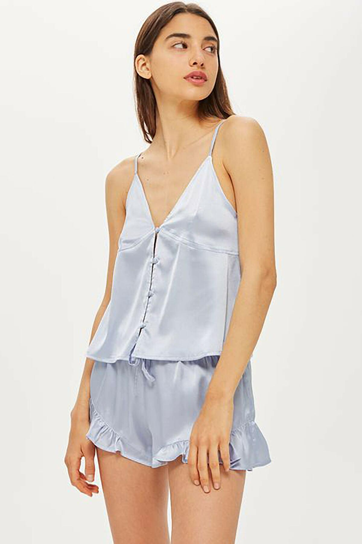 TOPSHOP - Blue Lucina Satin Short Pajamas - Lyst. View fullscreen ed40e7142