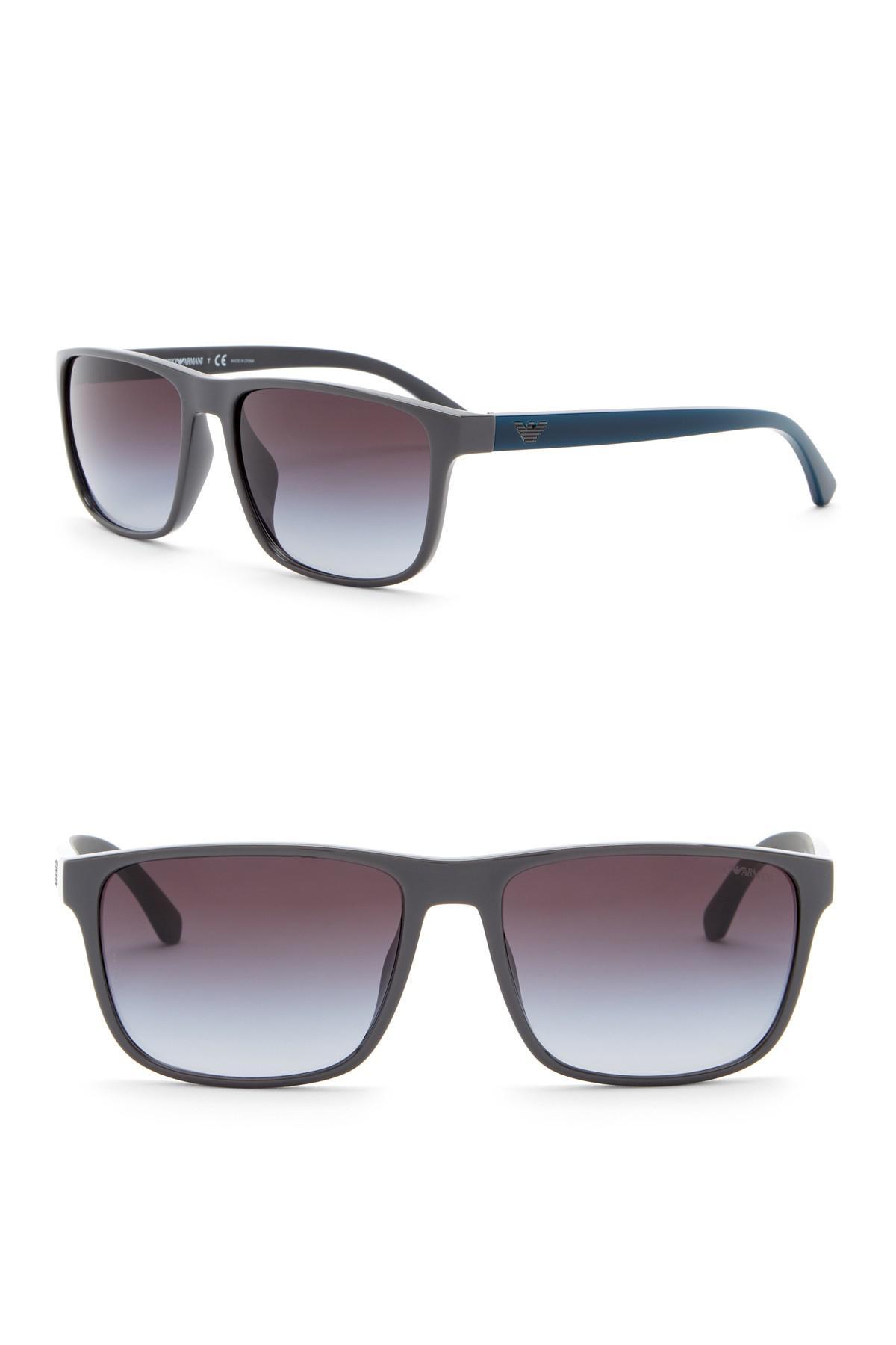 09941a5d1f65 Lyst - Emporio Armani 59mm Rectangle Acetate Frame Sunglasses in ...